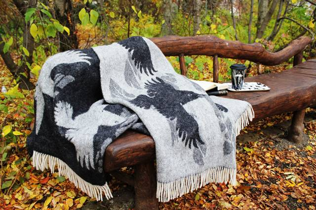 A raven wool blanket from Sveinbjorg.