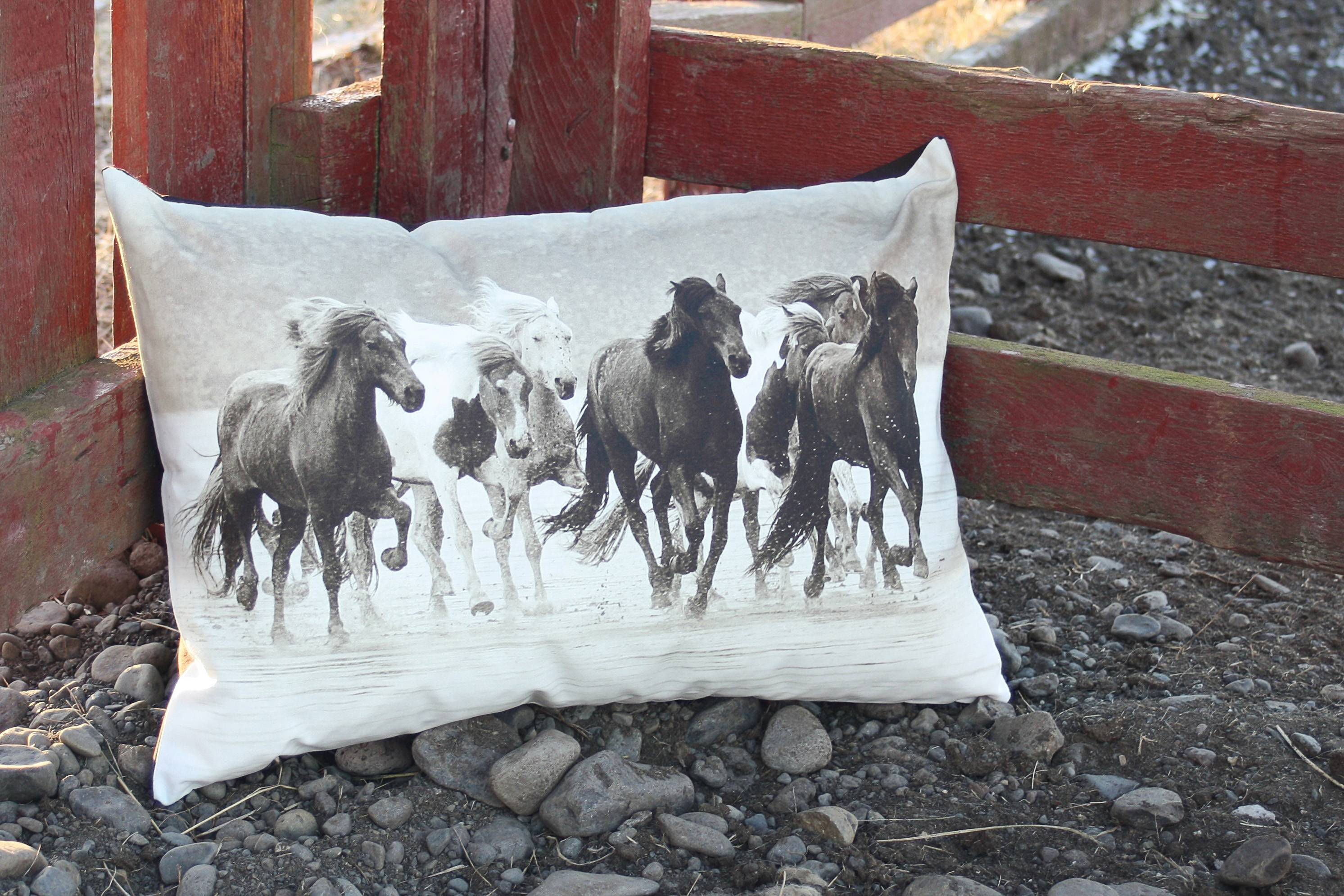 This photo print on a pillow shows an evocative image of Icelandic horses.