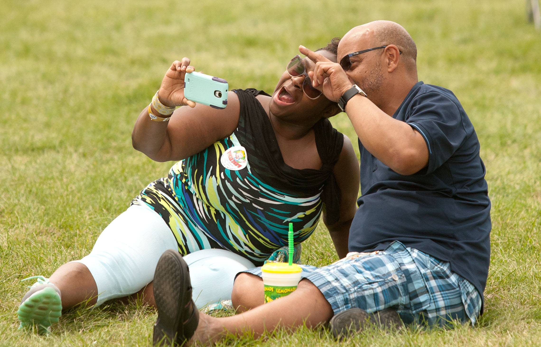 Sarah and Darryl Williams of Elmhurst take a selfie during the first Hispanic Day at Ribfest in Naperville.
