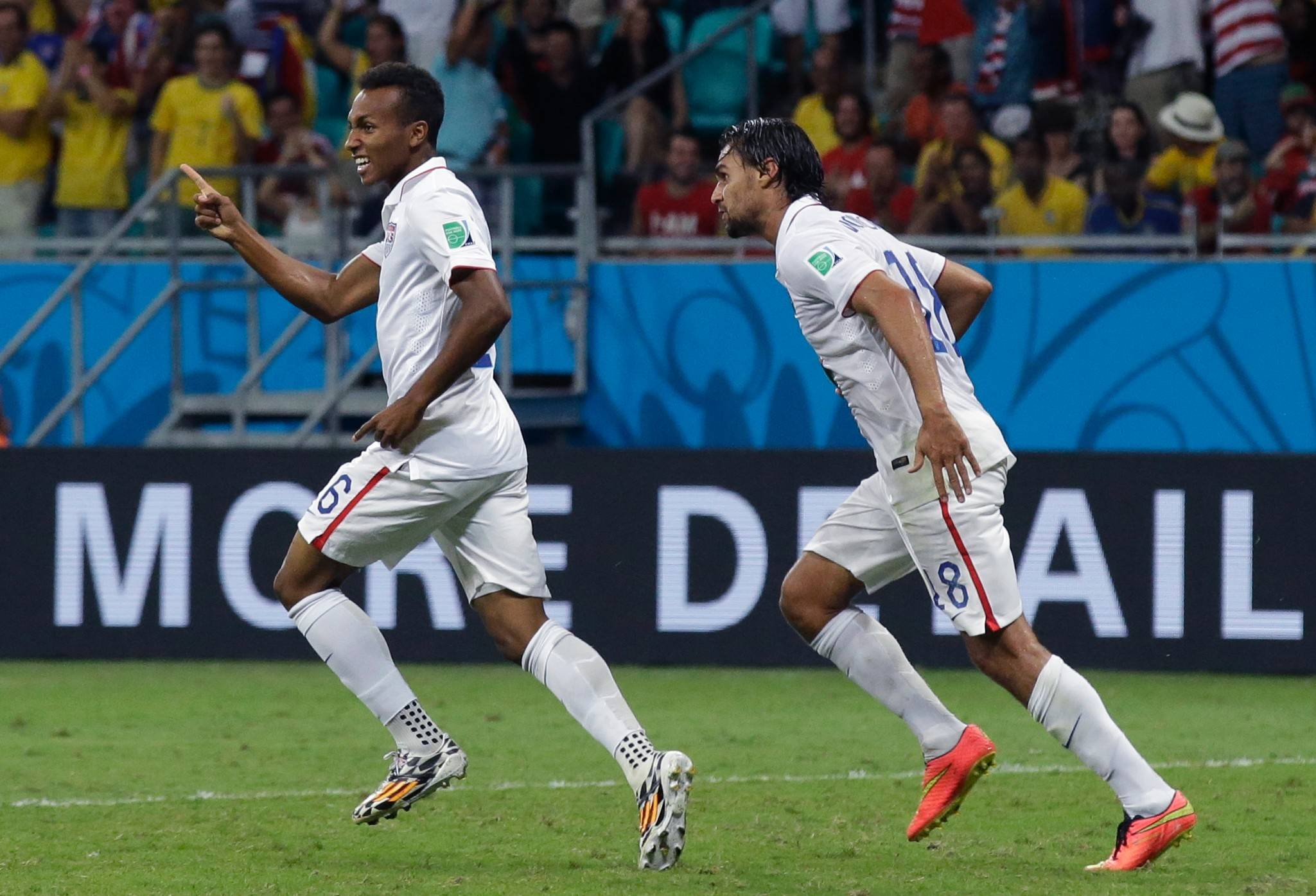 Julian Green, left, celebrates after scoring his first goal in World Cup action last week. Green, who plays in Germany, is one of the many young players expected to help the United States qualify for the World Cup in 2018 in Russia.