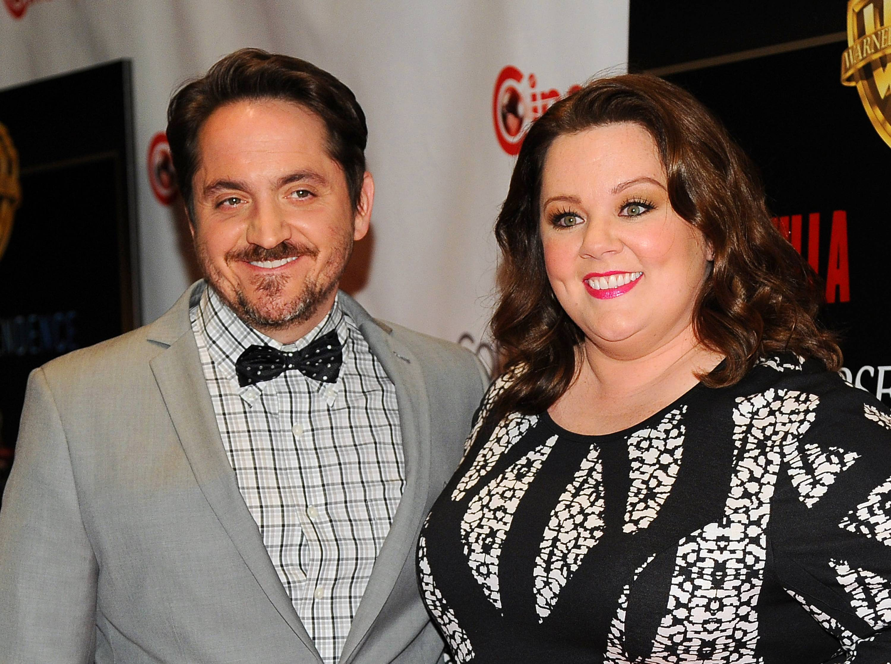 "Actress Melissa McCarthy, right, a cast member, co-writer and producer of the upcoming film ""Tammy,"" and her husband Ben Falcone, co-writer/director of the film, attended CinemaCon 2014 in Las Vegas."
