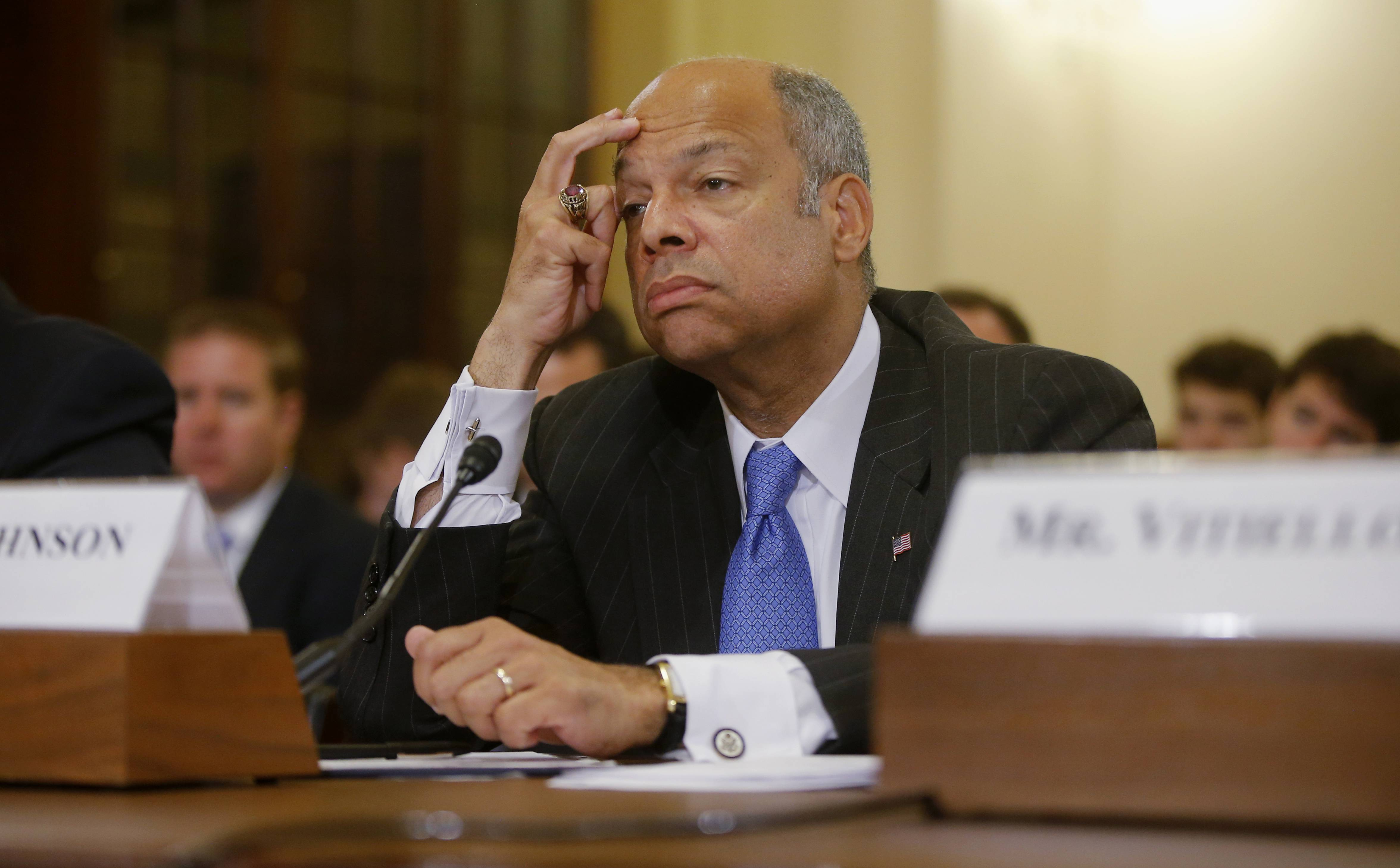 "Homeland Security Secretary Jeh Johnson, appearing Sunday on NBC's ""Meet the Press,"" said all persons regardless of age face ""a deportation proceeding"" if they enter the country illegally. The Obama administration, he said, is ""looking at ways to create additional options for dealing with the children in particular, consistent with our laws and our values."""
