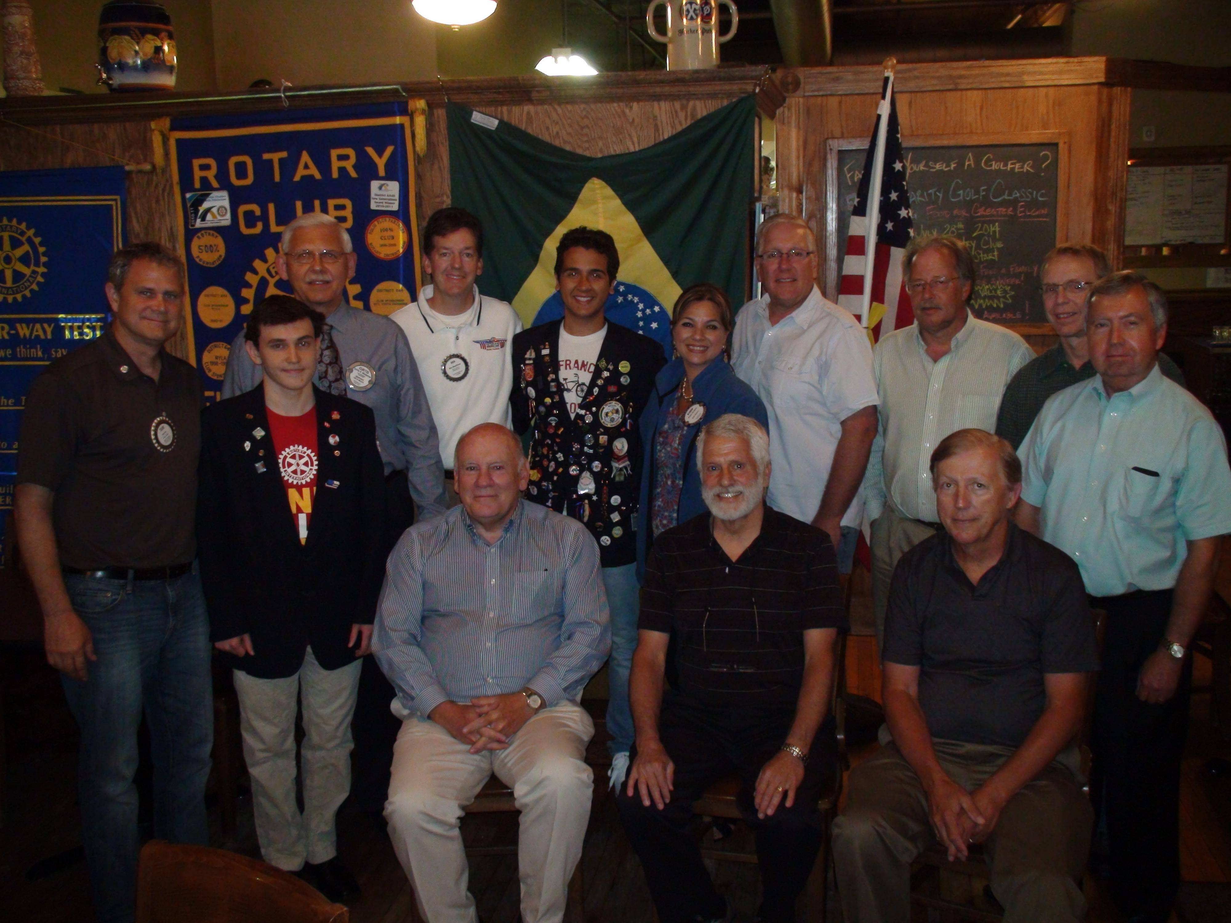 The Elgin Breakfast Rotary Club recently honored their Rotary Exchange Student from Brazil, Rodolfo Quaggio, center, back row, with a Paul Harris Fellow. Pictured are: front row, from left, Dave Dorgan, Al Kirkland, Pat Crawford; and back row, Alan Kirk, Chad Billings, Curtis Wiedeman, Ben Henrickon, Kimm Dodaro, Dan Helsdon, Sam Boyter, Jim Brandes, Dwain Tataryn.