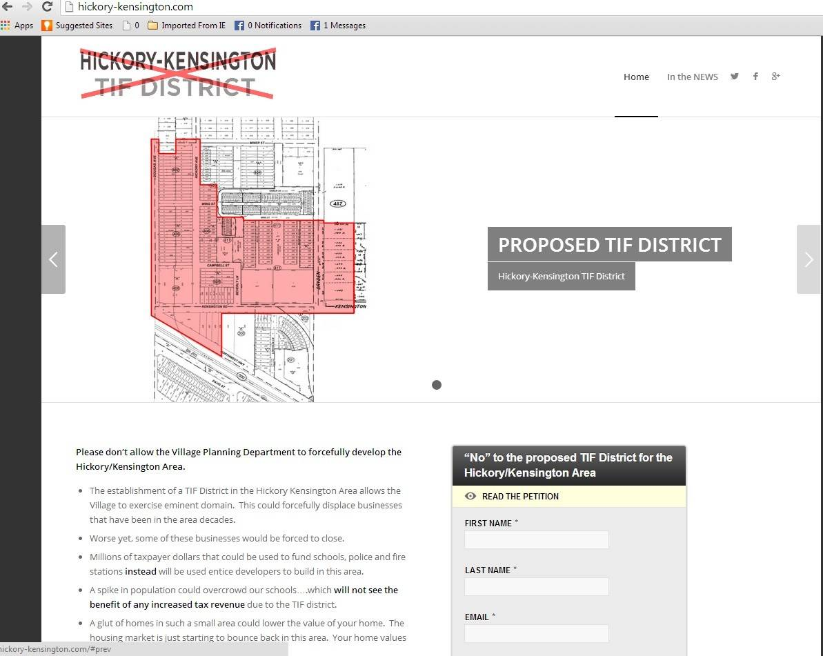 The website hickory-kensington.com urges Arlington Heights residents to oppose the Hickory-Kensington TIF district