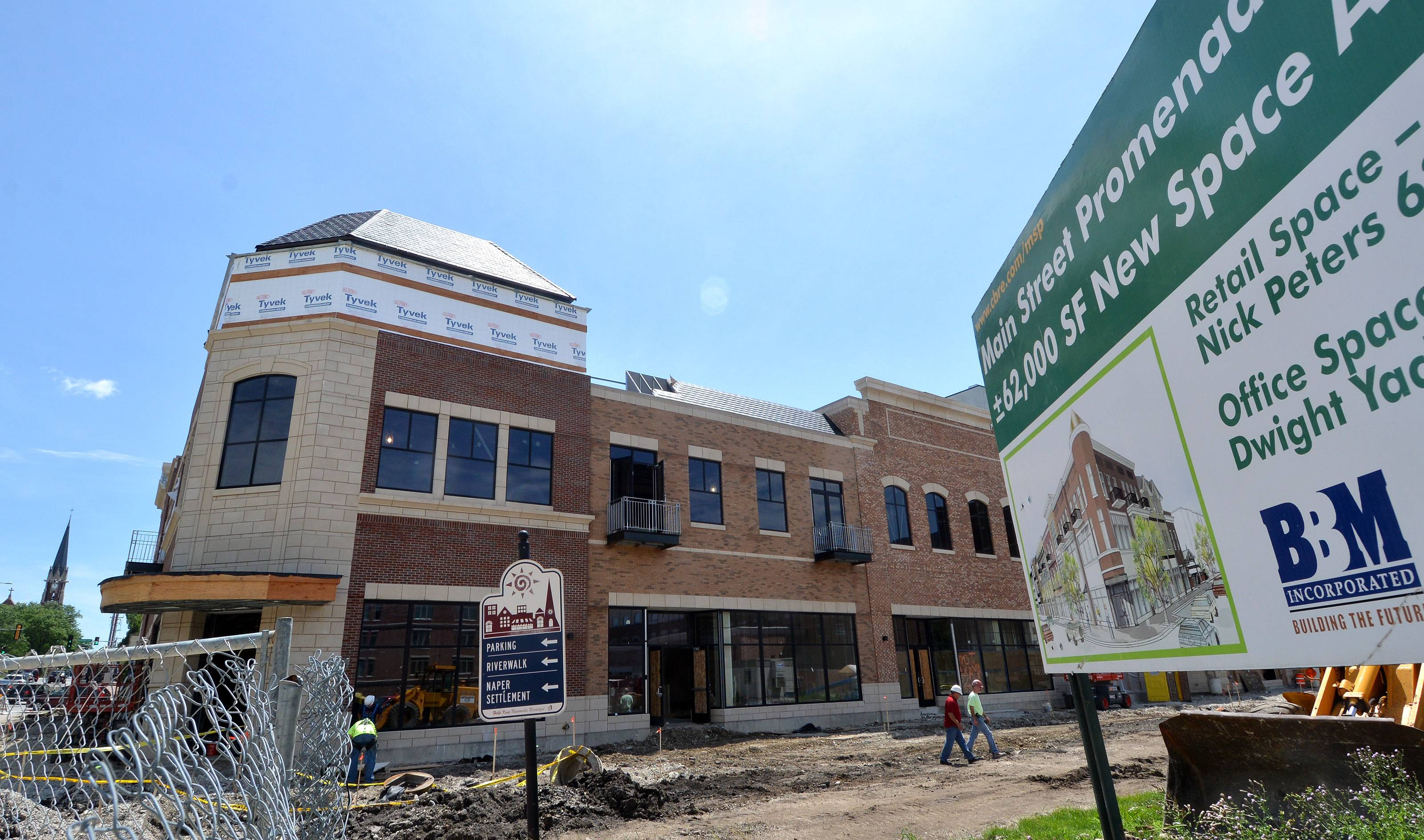 New shops and offices at Main Street Promenade East in Naperville are scheduled to begin opening as soon as August with the launch of clothing store Ever Eve. J. Crew and Anthropologie are among businesses coming to the $30 million, 51,000-square-foot development.