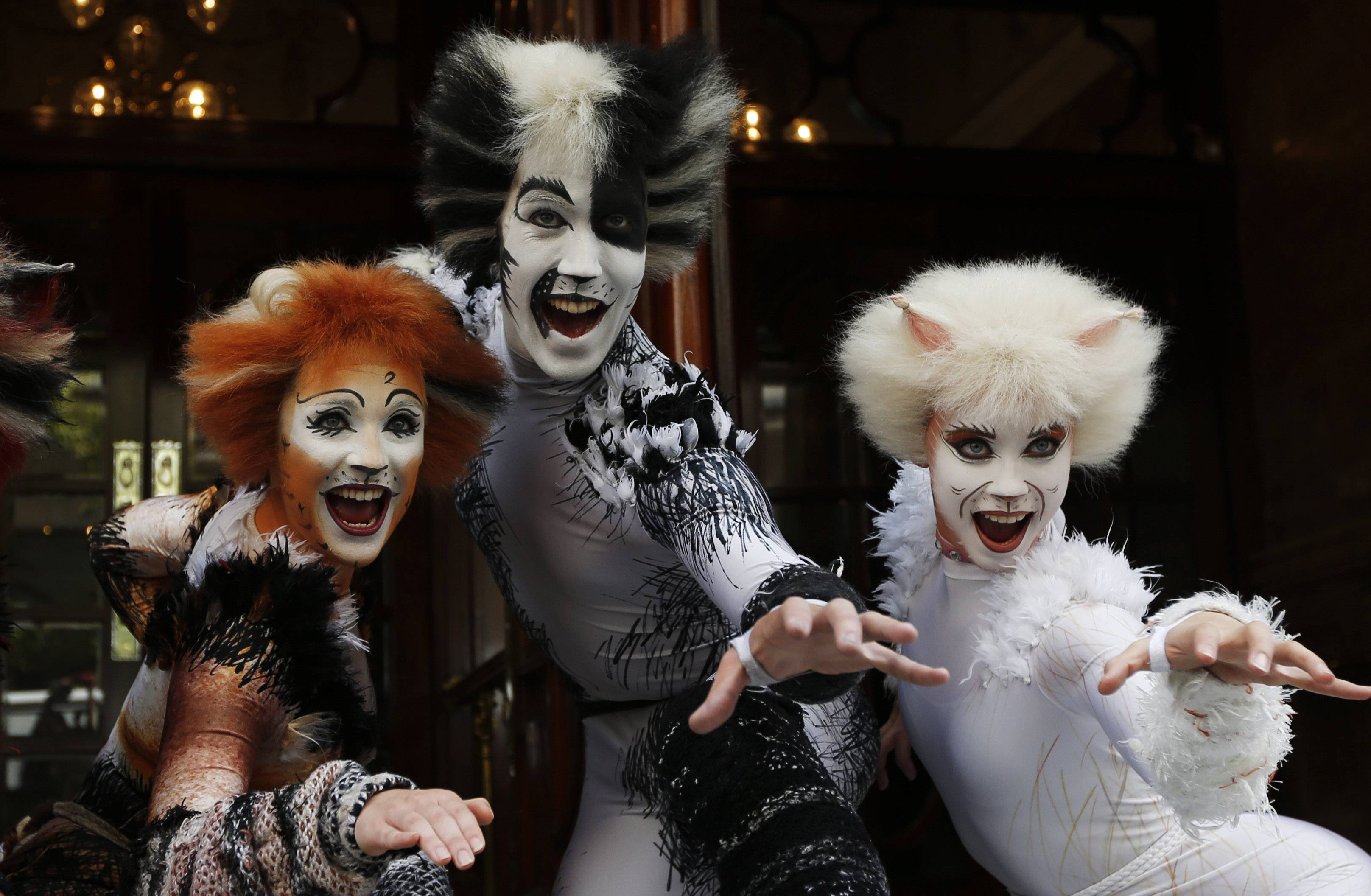 "Performers in ""Cats"" costumes promote the return of British composer Andrew Lloyd Webber's musical in London Monday. The show, based on T.S Eliot's ""Old Possum's Book of Practical Cats,"" will return to the West End for a limited 12-week run starting in December."