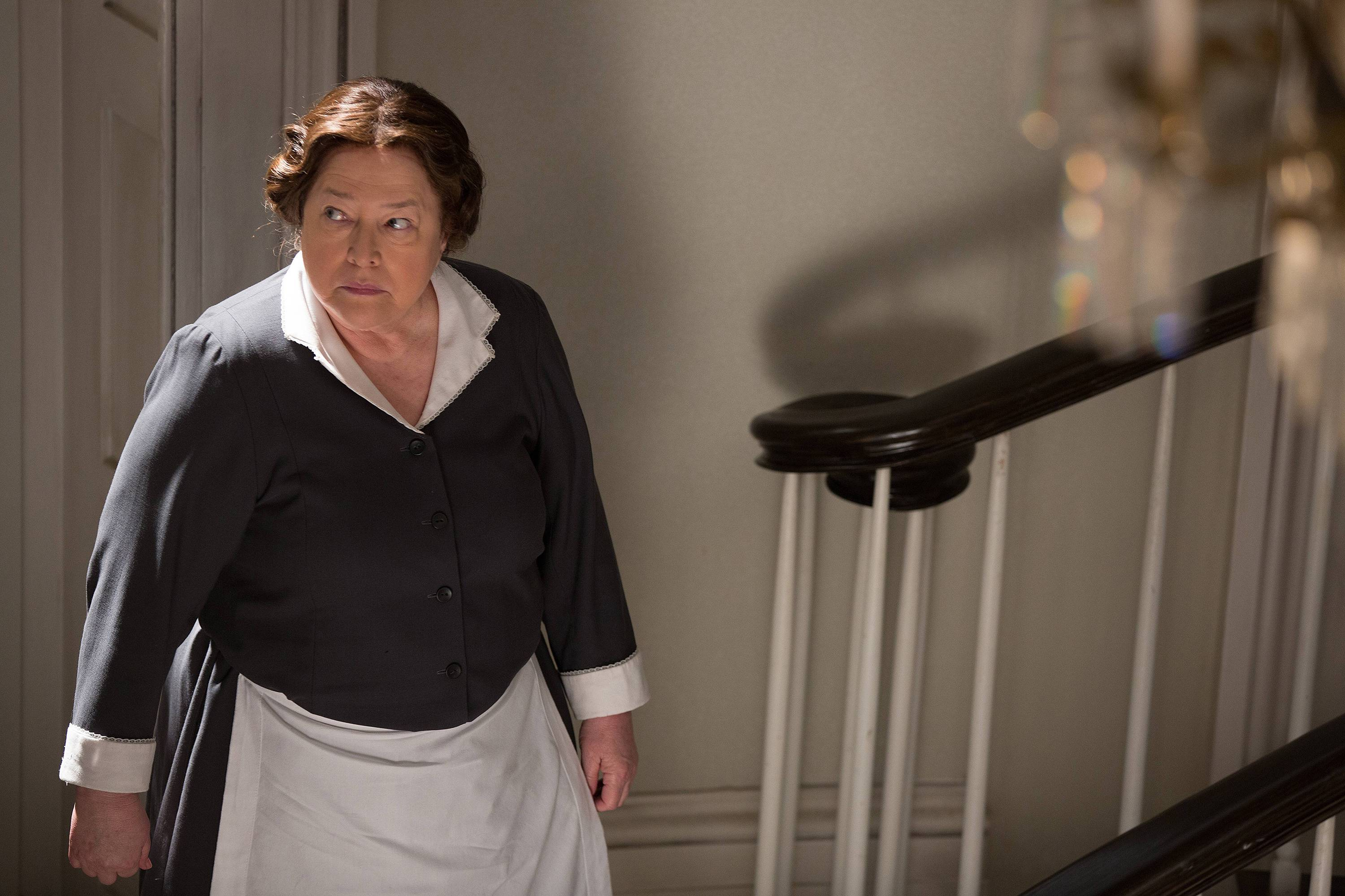 "This photo released by FX shows Kathy Bates, as Madame LaLaurie, in a scene from the episode, ""Protect the Coven,"" on FX's ""American Horror Story: Coven,"" season 3."