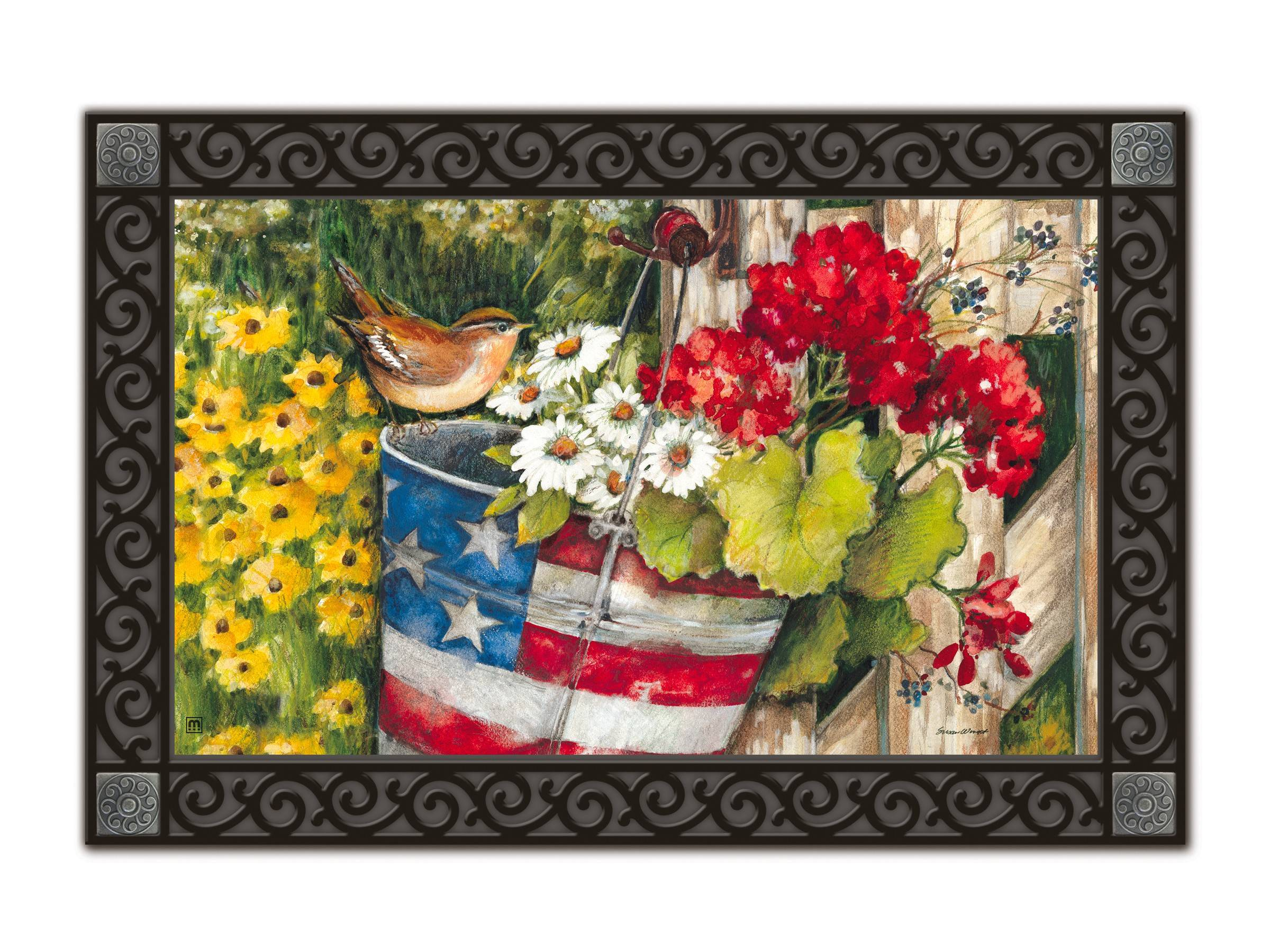 You can draw interest to ground level with a doormat featuring summery graphics.