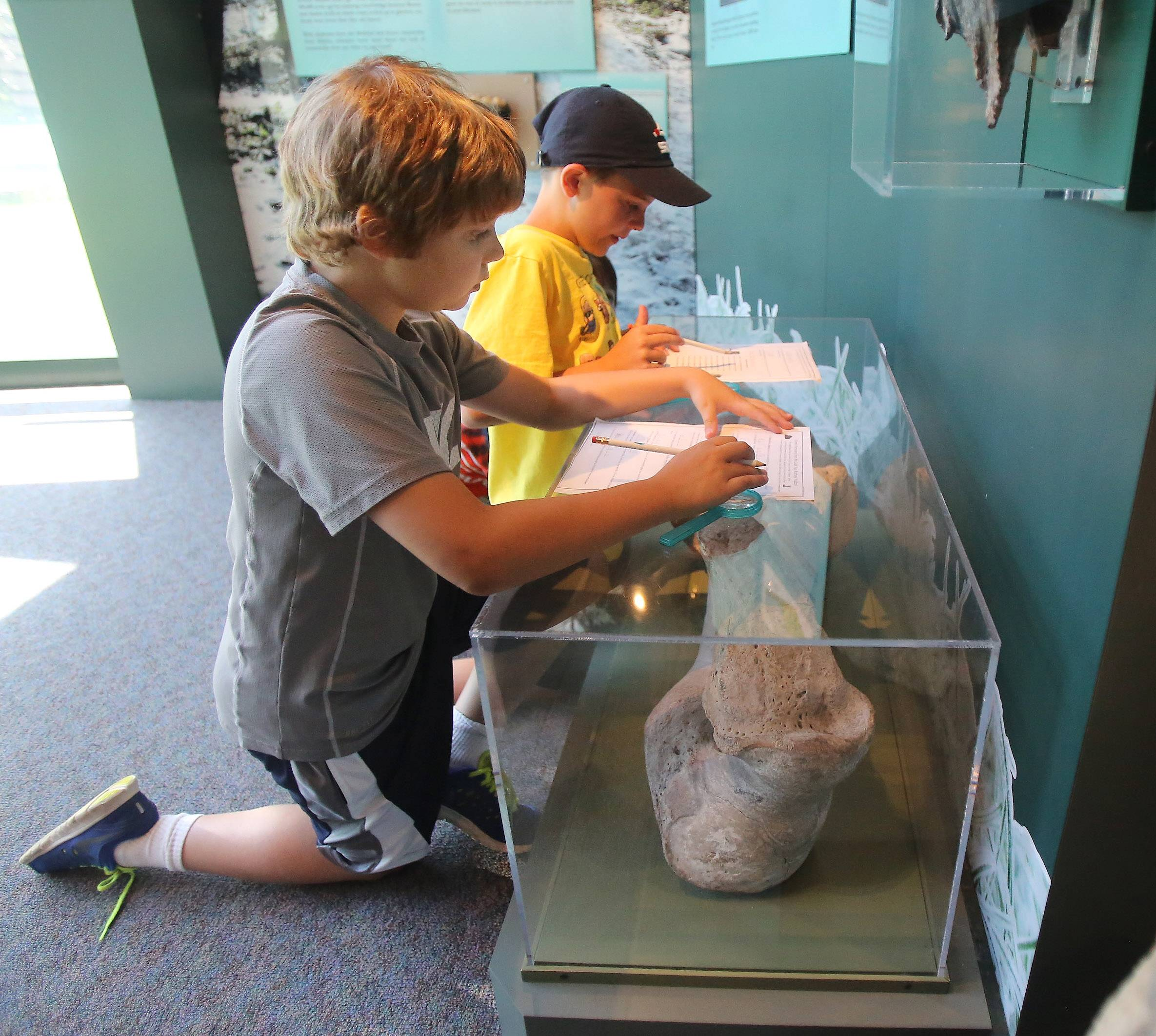 Erik Johnson, 9, of Vernon Hills, left, and Owen Smith, 10, of Mundelein look for clues during a scavenger hunt for missing money during the Lake County Forest Preserve District's History Detectives day camp Monday at the Lake County Discovery Museum near Wauconda. Their mission was to solve the biggest train robbery in county history, the 1924 Rondout Robbery.
