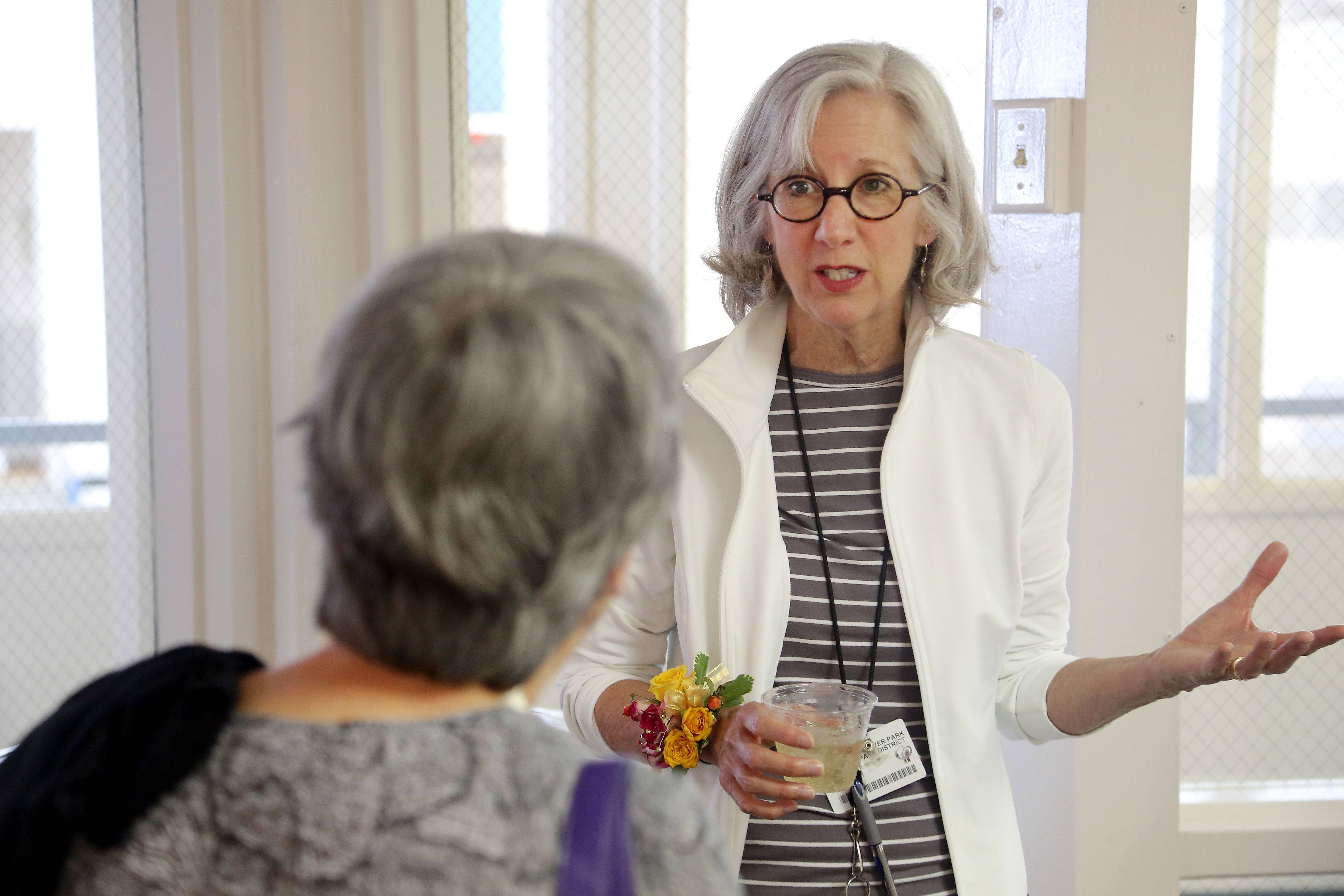 Susan Matthews, right, talks with Eileen Lucietto of Bartlett during a gallery opening in June for Roselle artist Paulina Engel at the Hanover Park Park District gallery. Matthews has retired from her job as cultural arts director for the Hanover Park Park District. The gallery is being renamed after Matthews.