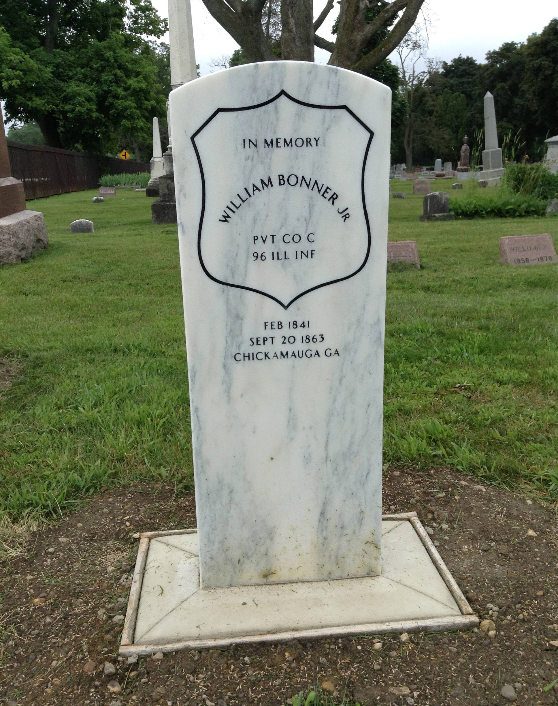 The gravestone for Civil War soldier William Bonner Jr. at Millburn Cemetery in Lake County. A ceremony will be held July 13 welcoming home Bonner, who was killed at the Battle of Chickamauga in 1863.