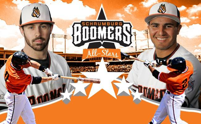 Infielder Jordan Dean, left, and outfielder Justin Vasquez will represent the Schaumburg Boomers in the Fronteir League All-Star Game next week in Washington, PA.