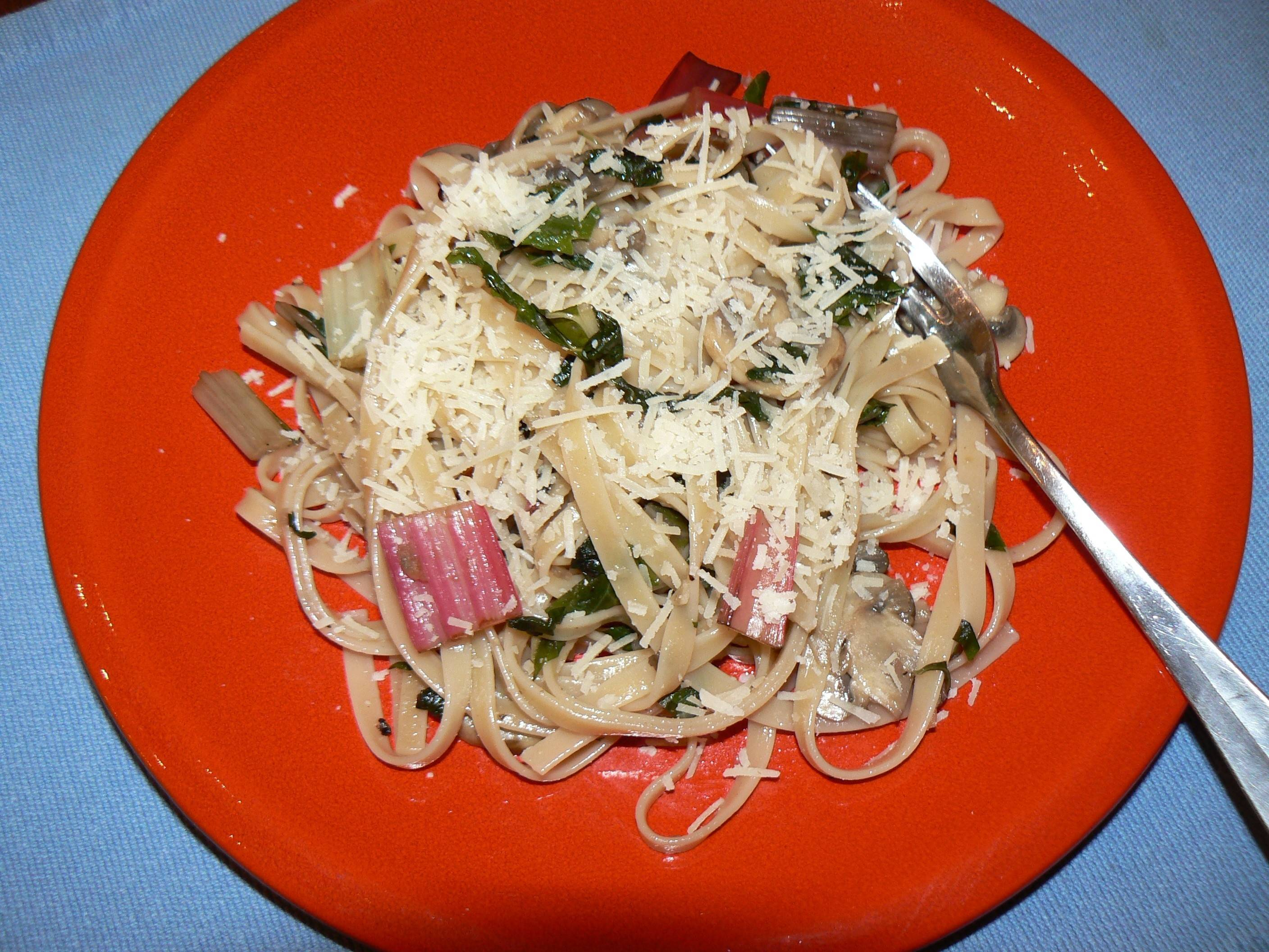 When your garden or marketbasket overflows with colorful Swiss chard, try adding it to cheesy fettuccine.