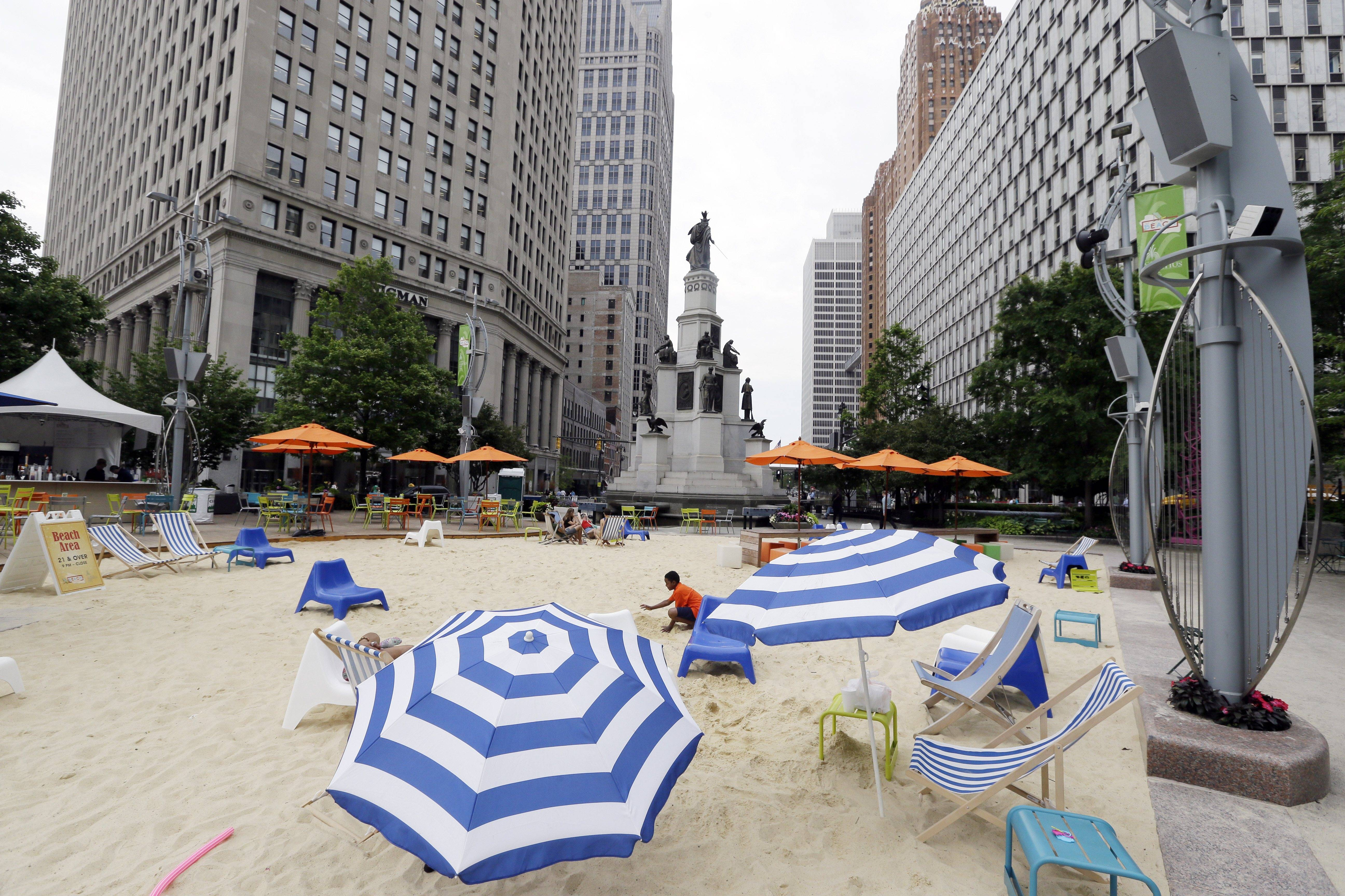 A beach scene is part of Campus Martius in Detroit. Campus Martius is a 1.6-acre park where the historic Woodward and Michigan avenues converge.