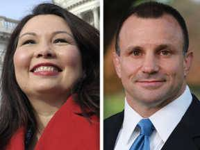 Democrat Tammy Duckworth, left, and Republican Larry Kaifesh, right, are candidates in the 8th Congressional District.