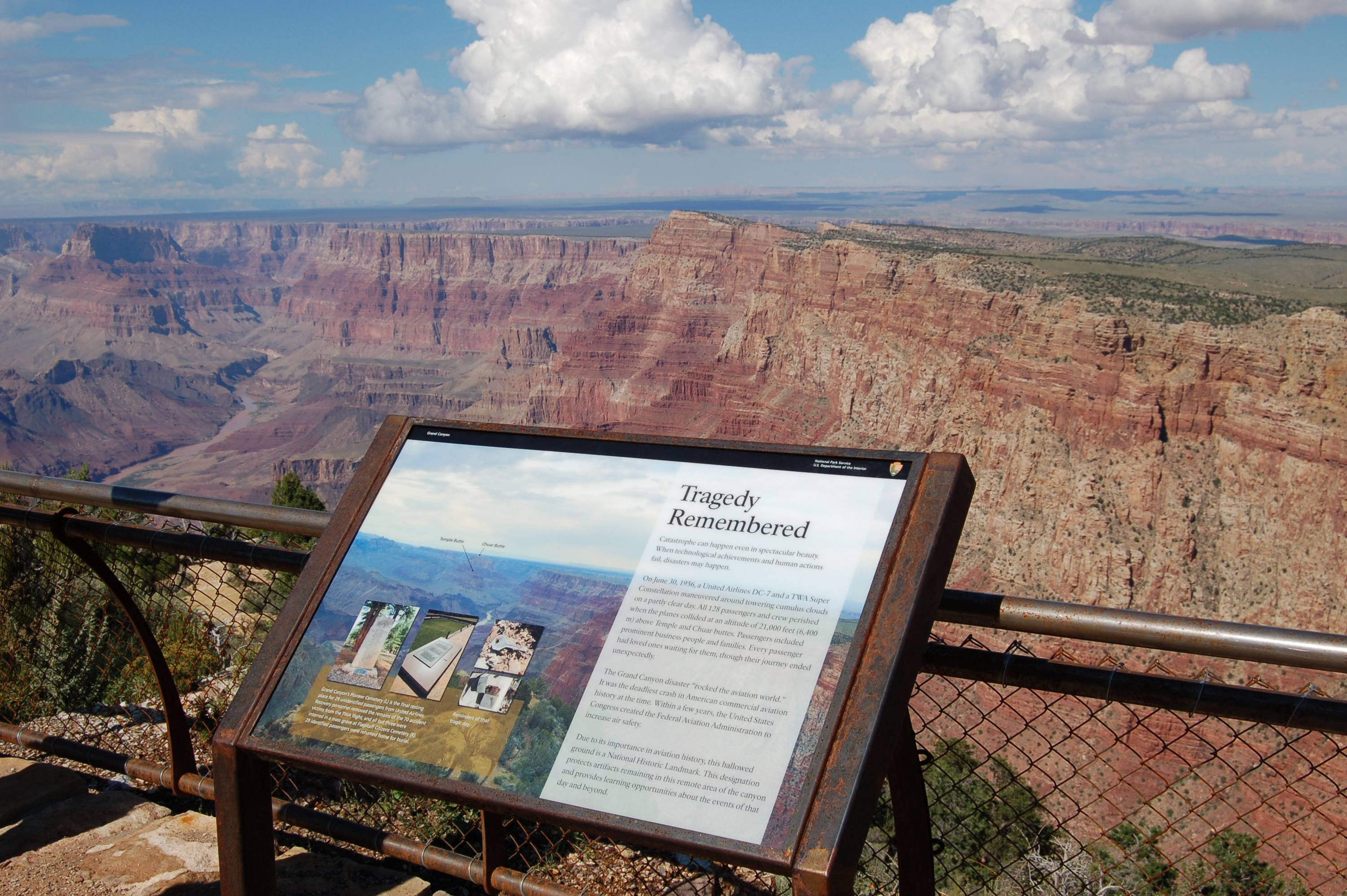 Two commercial airplanes, United Flight 718 and TWA Flight 2 crashed on June 30, 1956, over the Grand Canyon, killing all 128 people aboard in one of the deadliest aviation disasters in the U.S. On Tuesday, July 8, 2014, the Grand Canyon National Park will mark the designation of the crash site as a National Historic Landmark in a ceremony overlooking the gorge where the wreckage was scattered over 1.5 square miles.