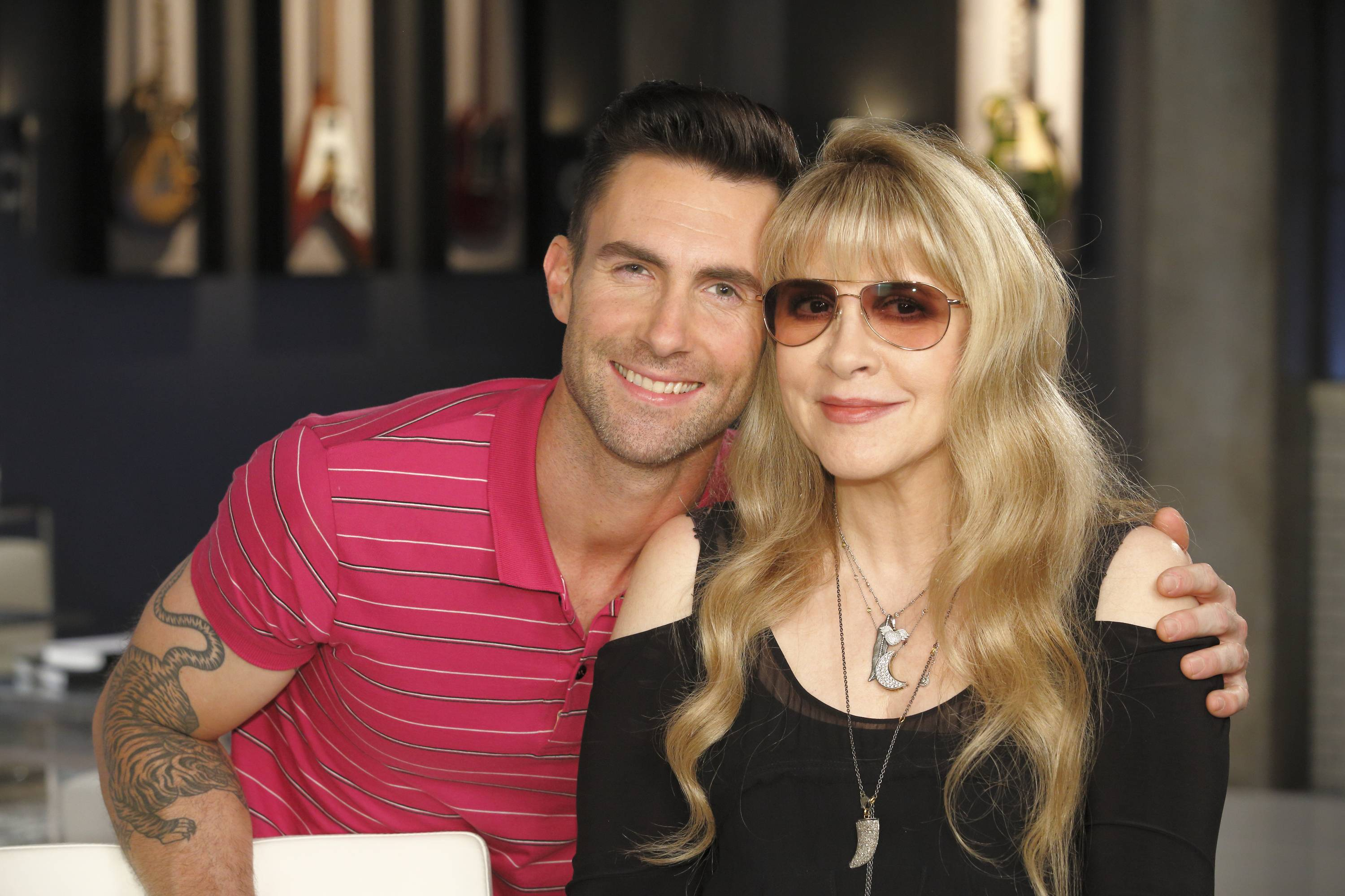 "Adam Levine, left, and Stevie Nicks in Los Angeles. Stevie Nicks has come on board NBC's ""The Voice"" this season as Adam Levine's adviser to his team. She and Levine have been filming with his team of 12, working with each of his artists as they assign songs and rehearse with them, preparing for the Battle Rounds. Season 7 premieres Sept. 22."
