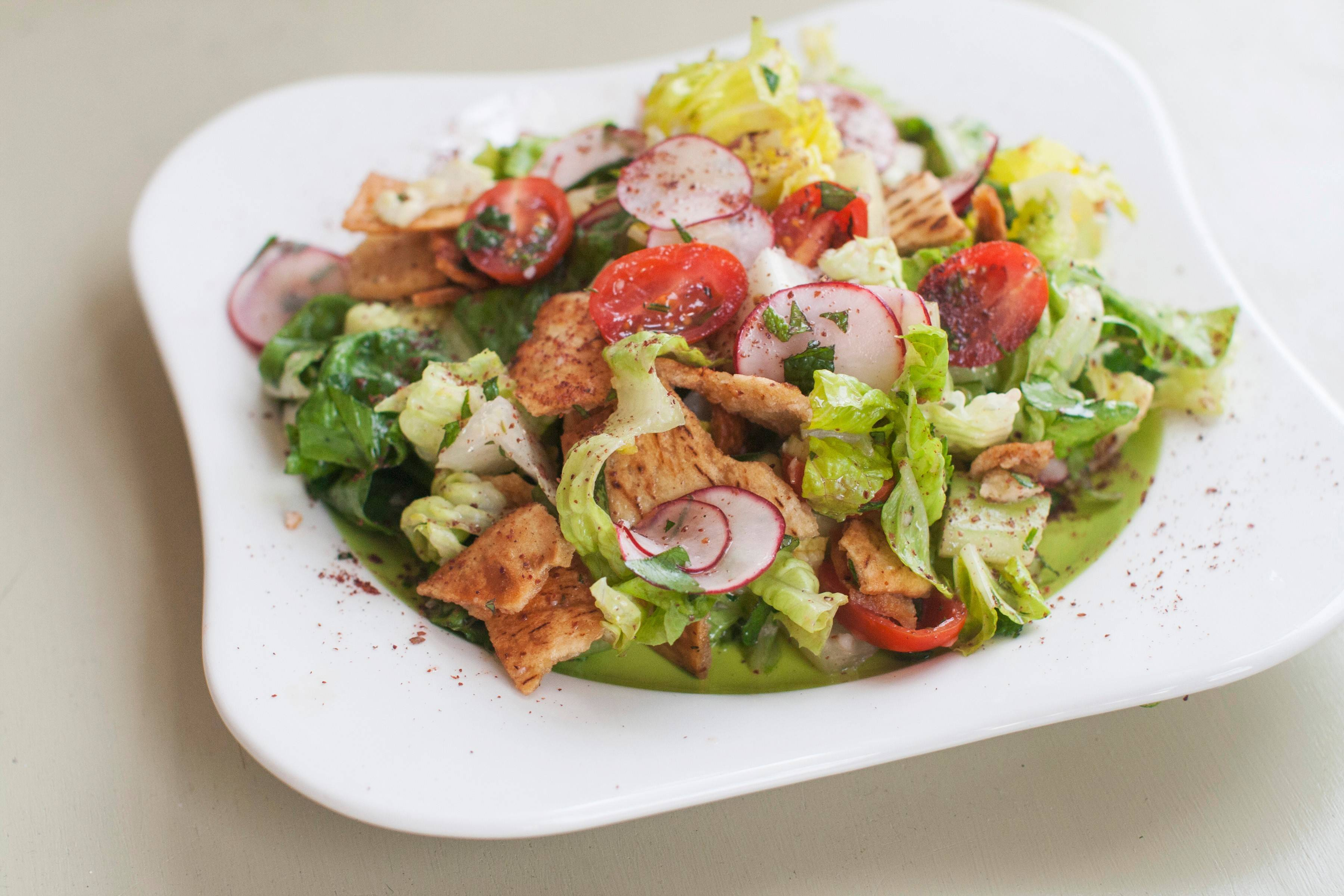 While living in Paris, chef and cookbook author David Lebovitz has perfected fattoush, a Middle Eastern salad with pita crumbles.