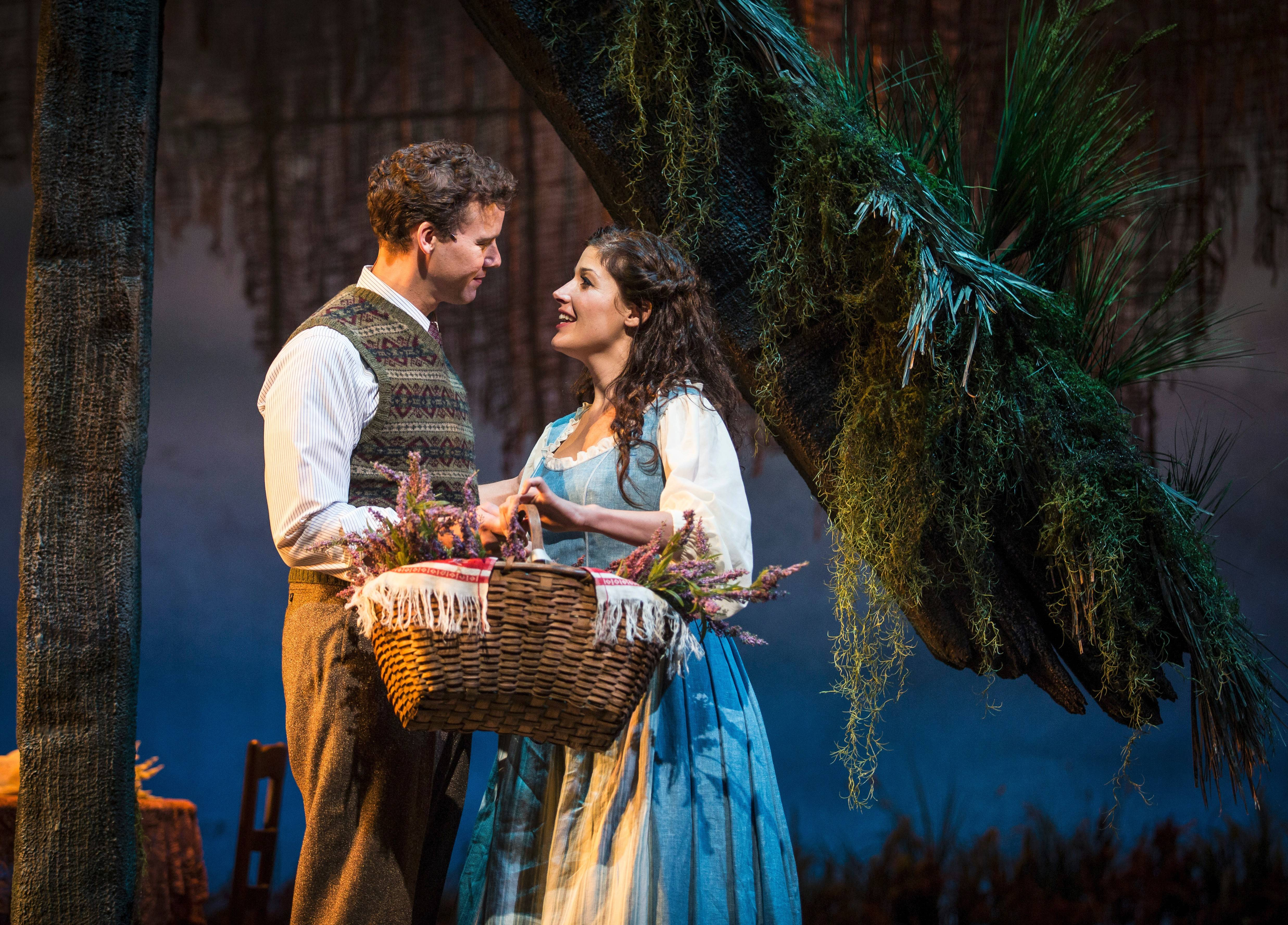 "Tommy Albright (Kevin Earley) and Fiona MacLaren (Jennie Sophia) fall in love across the centuries in Goodman Theatre's revival of the Lerner & Loewe musical ""Brigadoon,"" directed and choreographed by Rachel Rockwell."