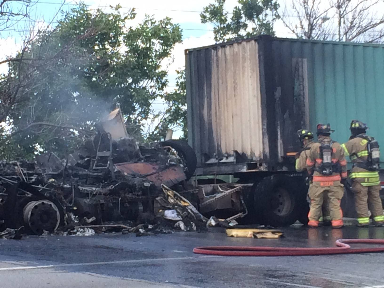 A semitrailer truck, loaded with paper, caught fire Wednesday afternoon as it traveled south on I-355 near Roosevelt Road in DuPage County.