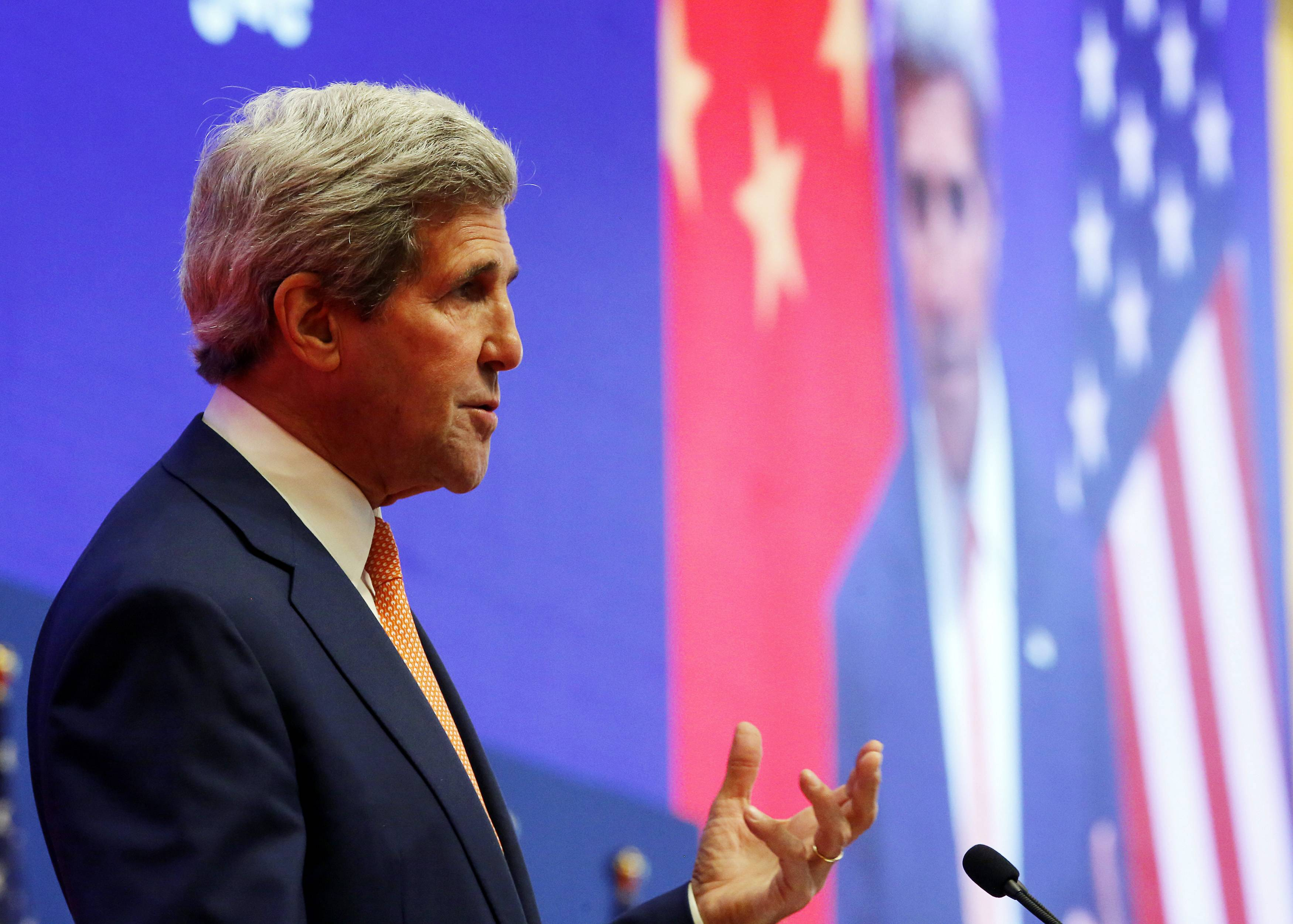 "U.S. Secretary of State John Kerry addresses the joint opening session of the U.S.-China Strategic and Economic Dialogue known as the ""S&ED"" at the Diaoyutai State Guesthouse in Beijing, China Wednesday, July 9, 2014."