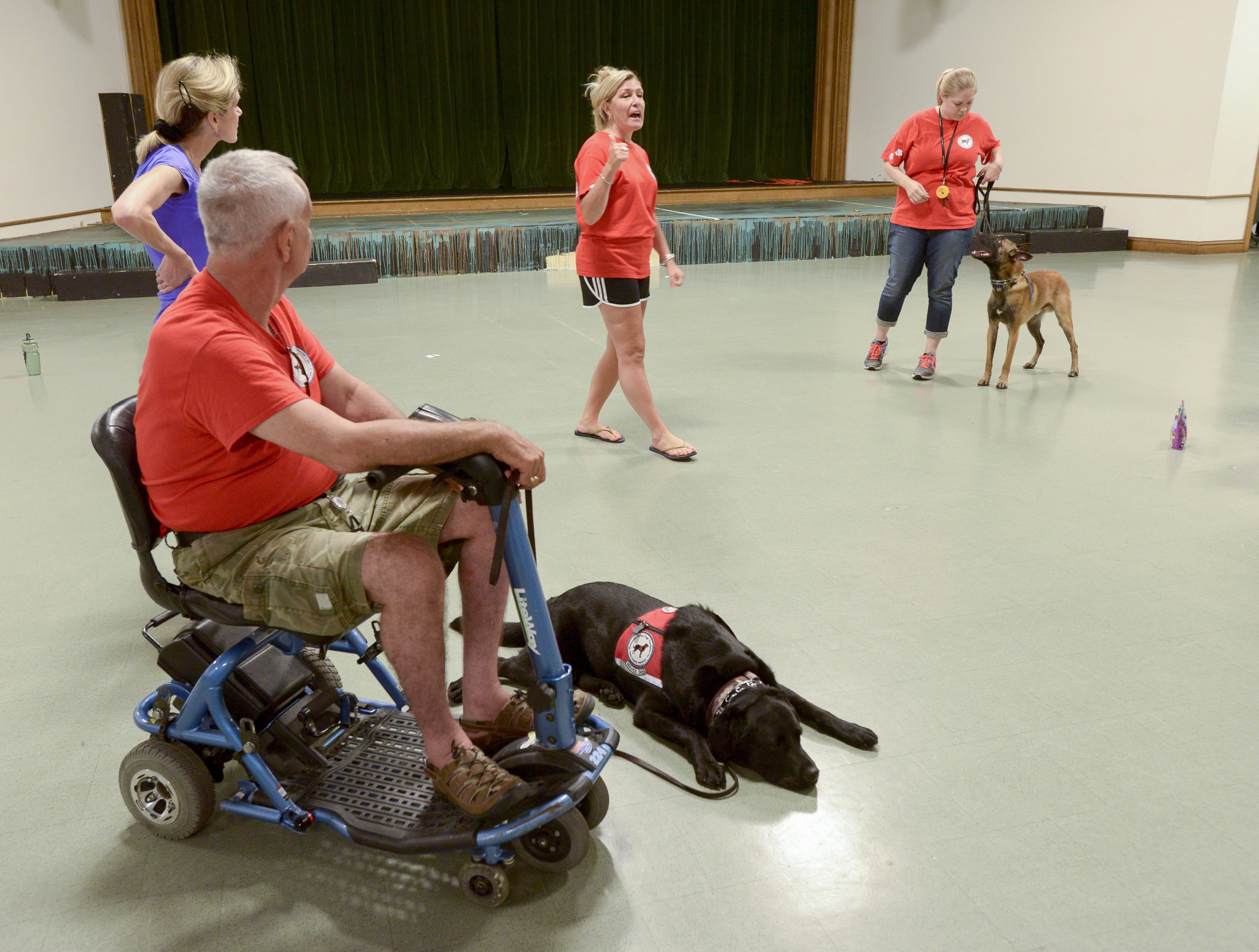 Joe Stachurki of St. Charles and his service dog, Dora, participate in a MidAmerica Service Dogs' Foundation training class in Hinsdale. Top photo, service dog Bode awaits instruction from owner Jenny Youngwith of Carol Stream.