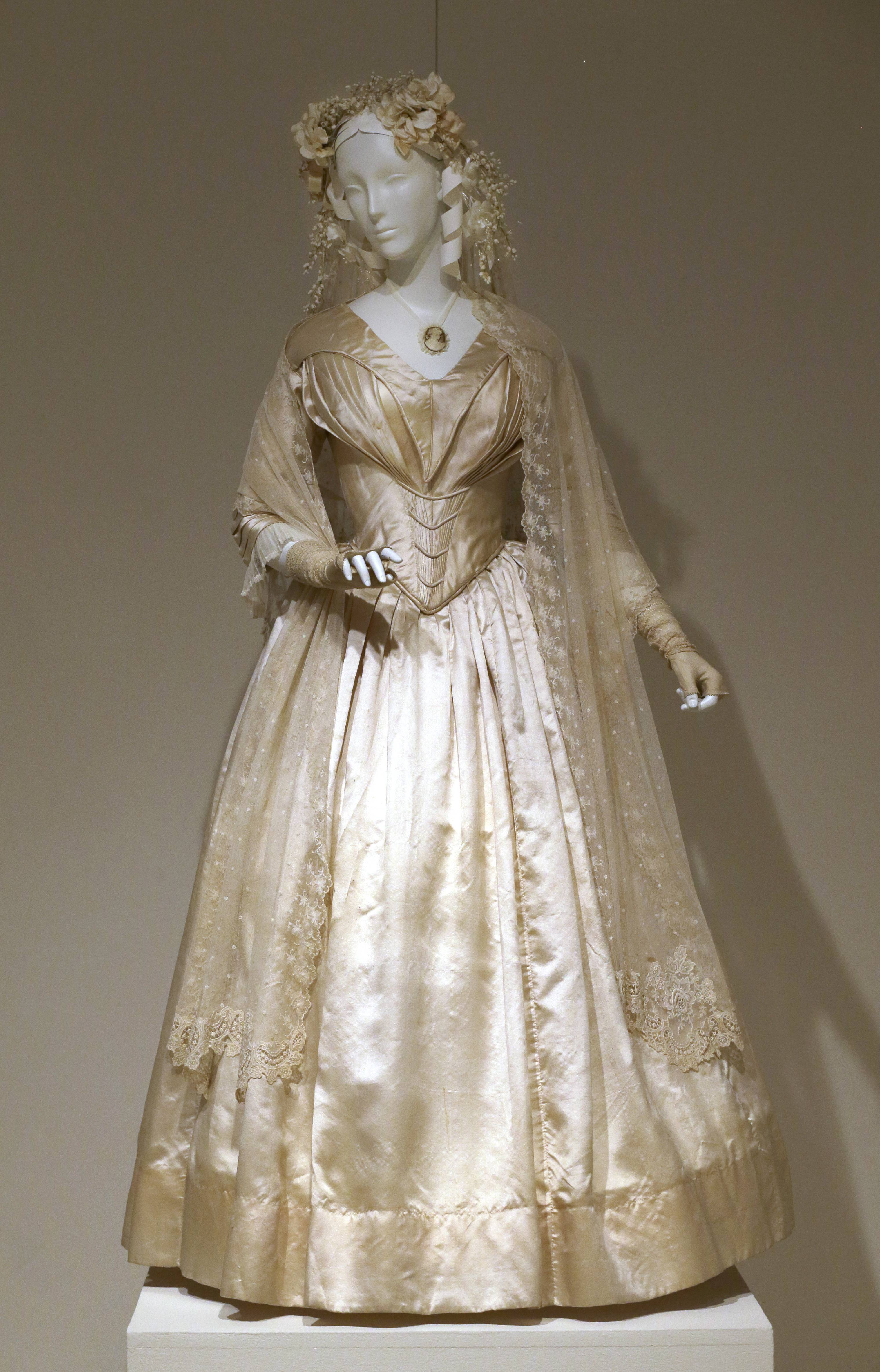 "A wedding dress made in 1844 is displayed at the ""American Brides: Inspiration and Ingenuity"" exhibition in Denton, Texas."