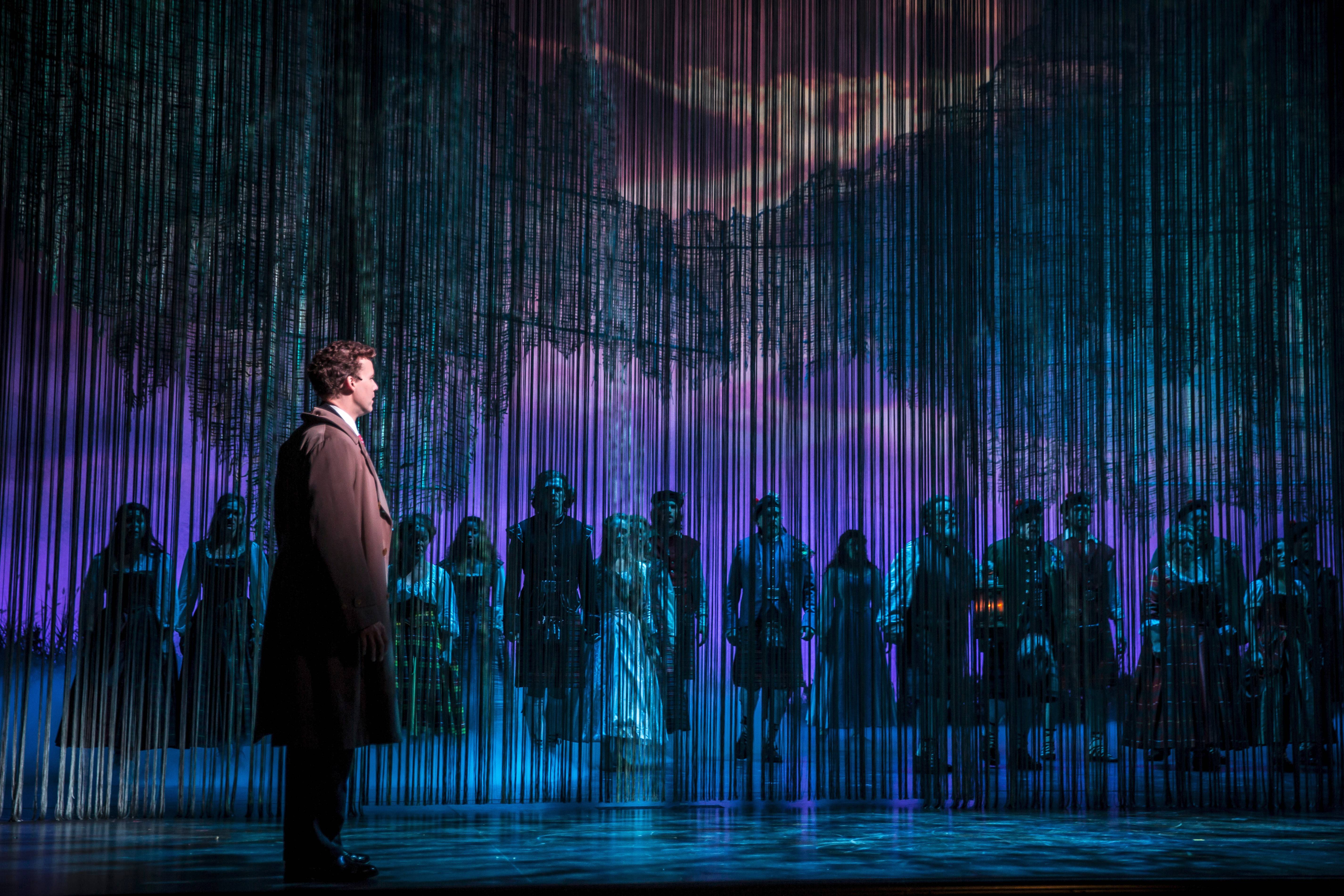 "Kevin Depinet's otherworldly set perfectly suits director/choreographer Rachel Rockwell's revival of ""Brigadoon"" for Goodman Theatre. Kevin Early stars as Tommy Albright, an engaged American war veteran who discovers a mythical village that reappears for one day every 100 years."