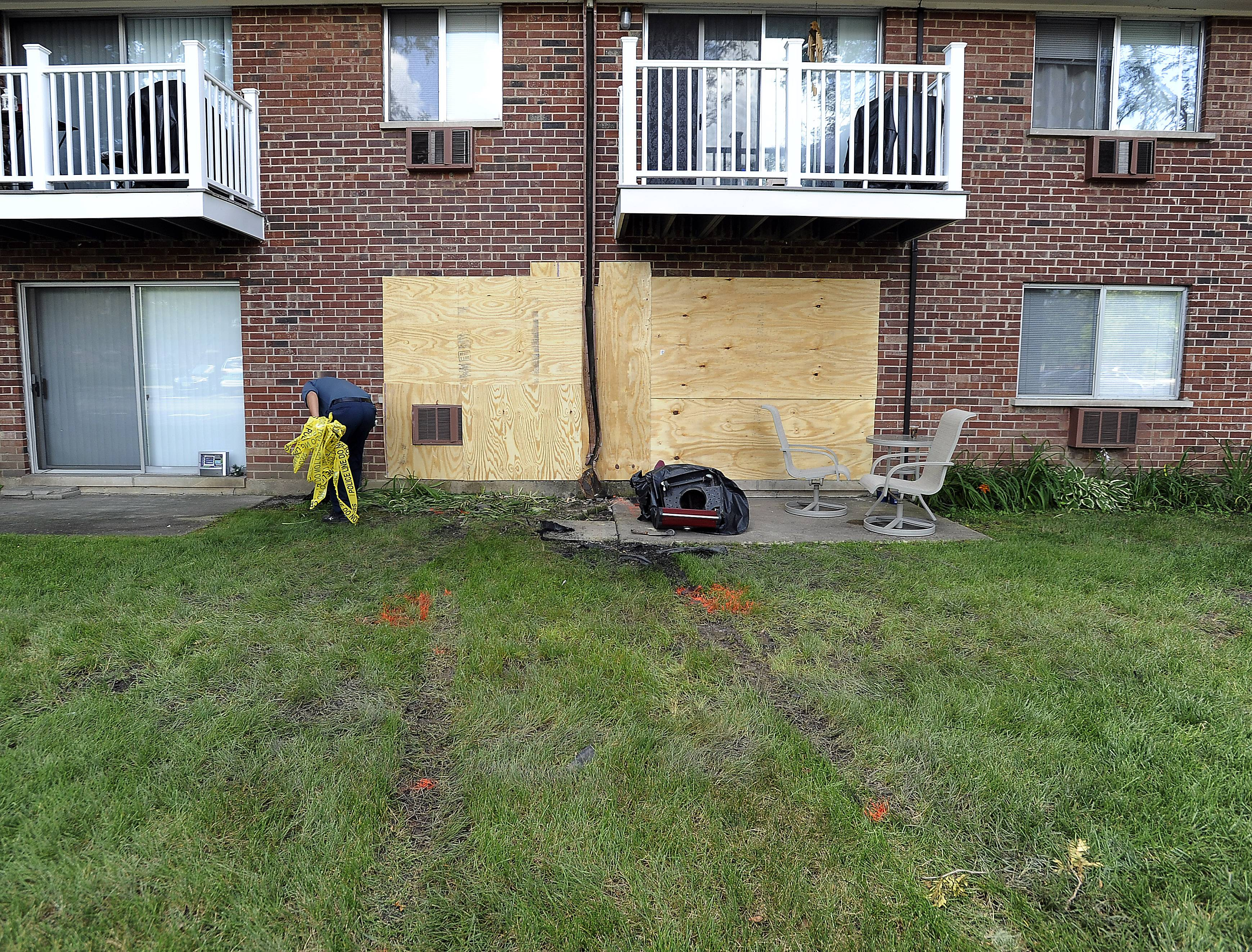 No one inside the apartment building was injured, but the impact caused some structural damage.