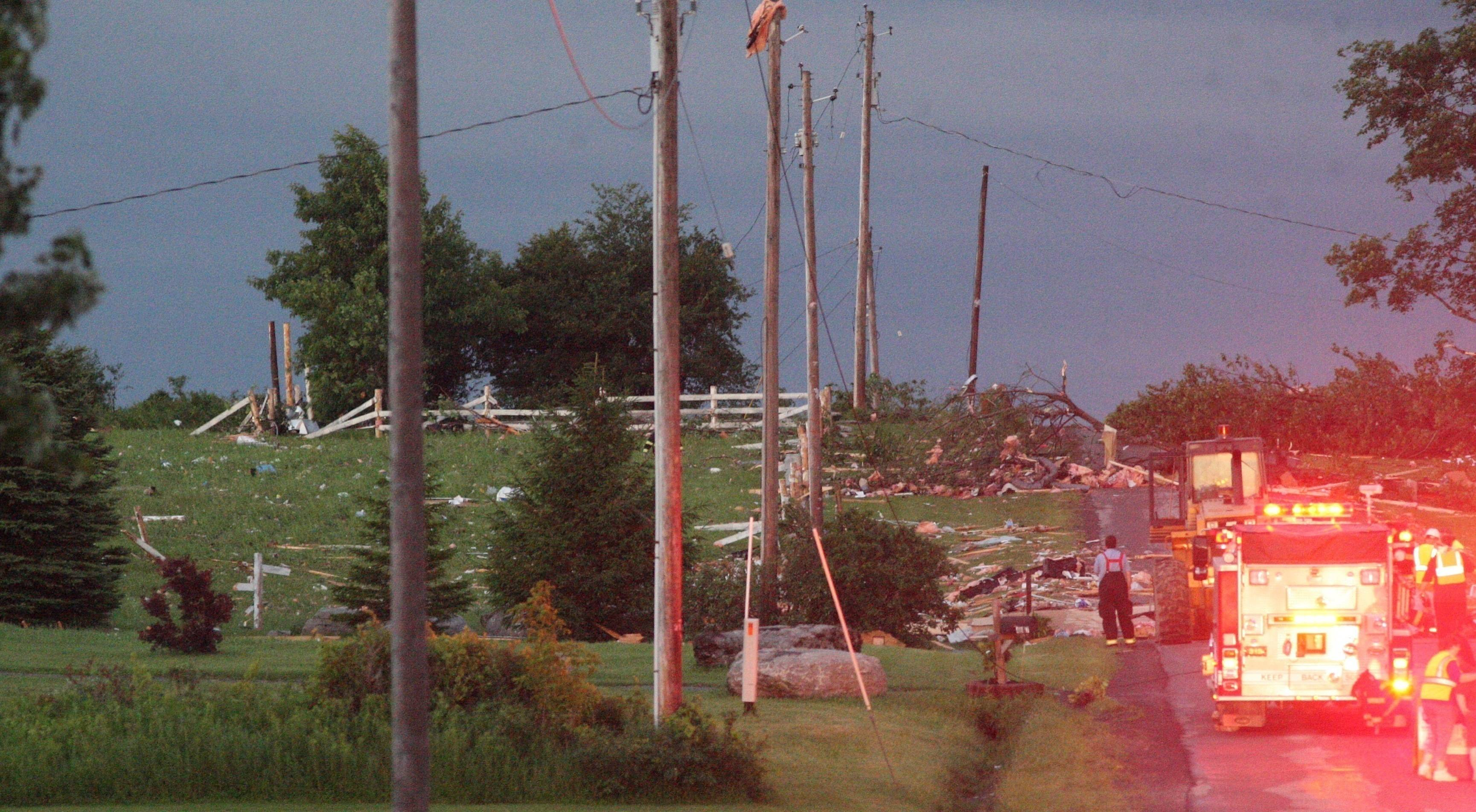 In central New York, four people died after storms hit the rural town of Smithfield, between Syracuse and Utica, the Madison County Sheriff's Office said. At least four homes were completely destroyed and numerous others were damaged.