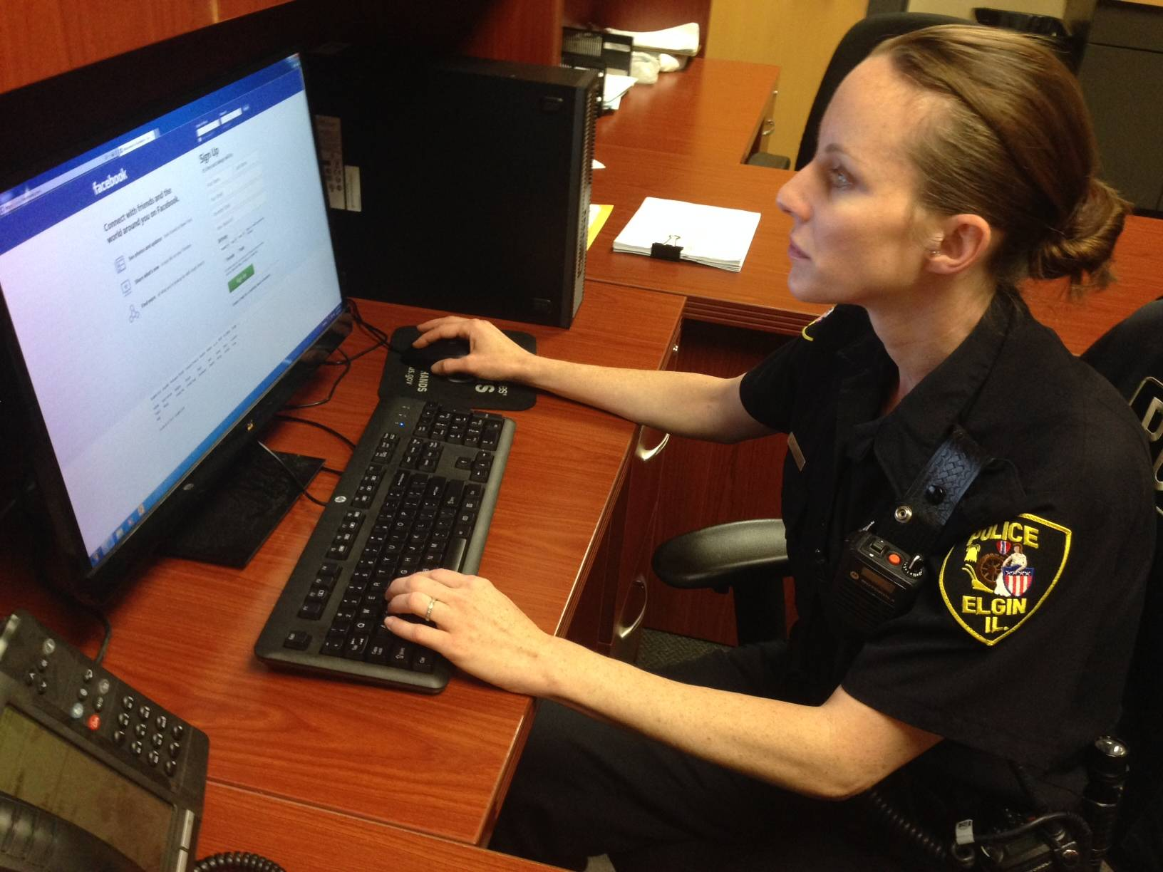 Members of the Elgin Police Department's crime-free housing unit and resident officer program, including officer Shelley Mendiola, are in charge of conducting checks on registered sex offenders. Elgin police conduct at-home checks of sex offenders twice a year and also monitor social networking sites, such as Facebook, Twitter and Instagram.