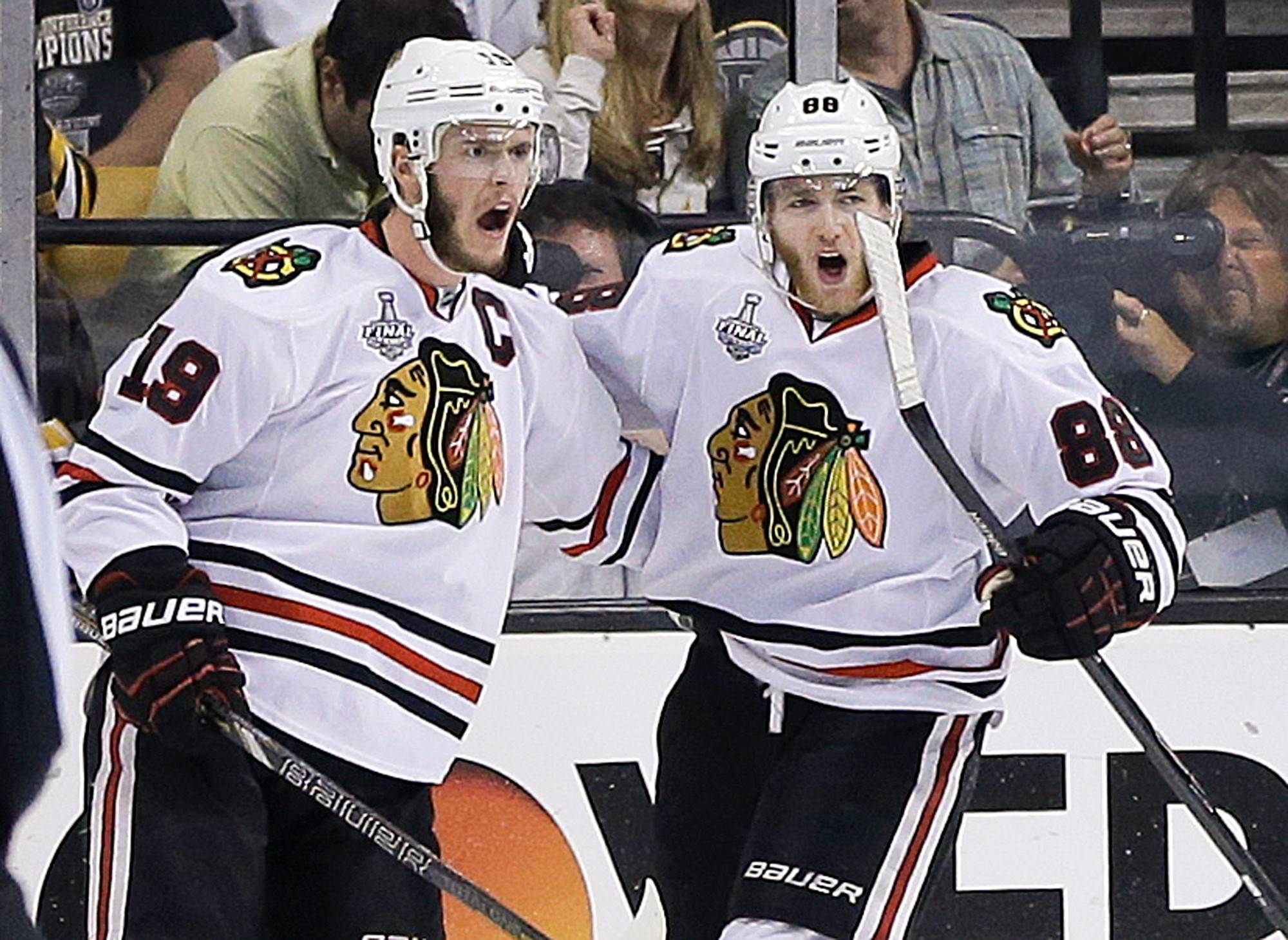 Center Jonathan Toews (19) and right wing Patrick Kane have agreed to eight-year contract extensions with the Blackhawks, reportedly worth $10.5 million per season.