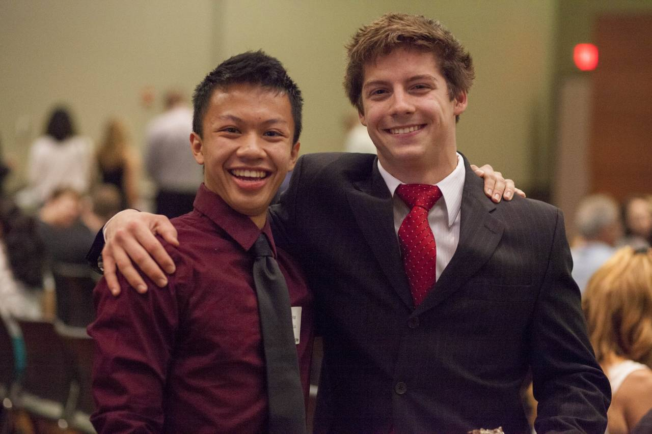 Han Luu (left) of Glendale Heights and Eugene Boguslavsky of Glen Ellyn are two of 2014's Presidential Scholars. (Photo by Press Photography Network/Special to College of DuPage)