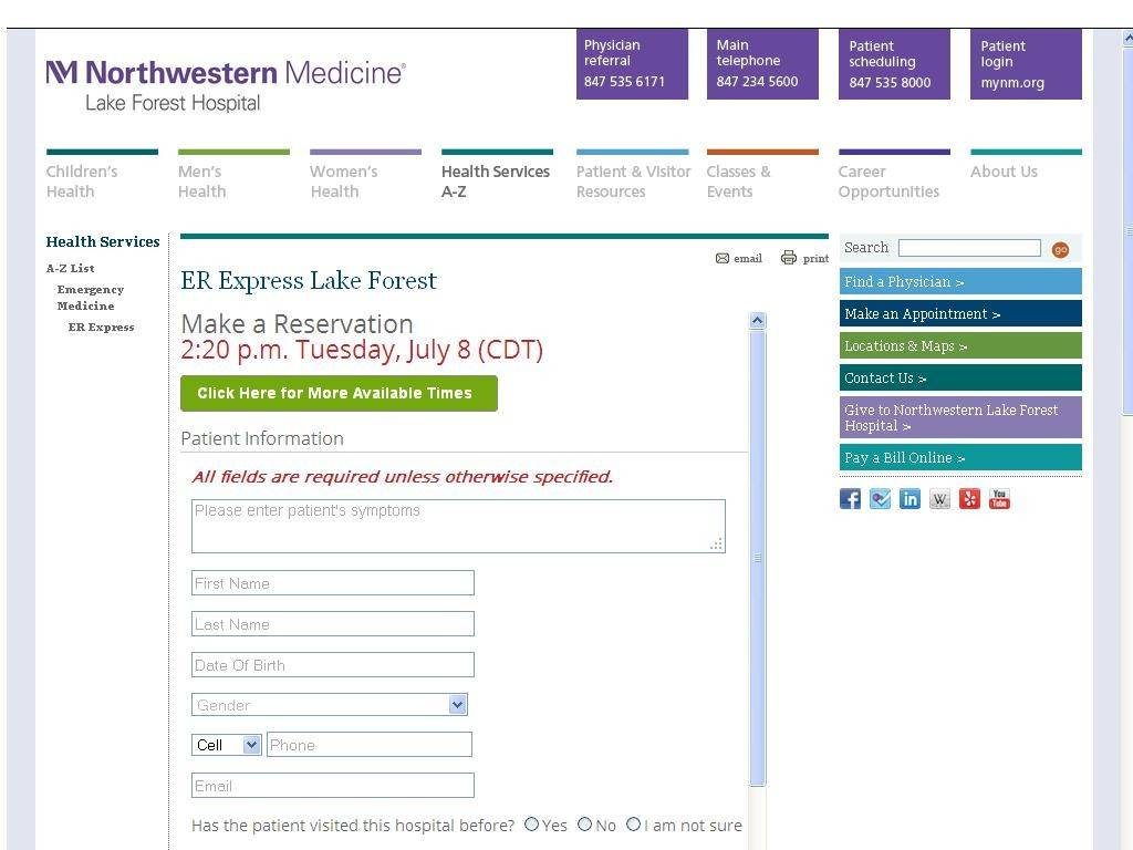 The Lake Forest Hospital website offers online check-in system for emergency room visits, which started July 1.