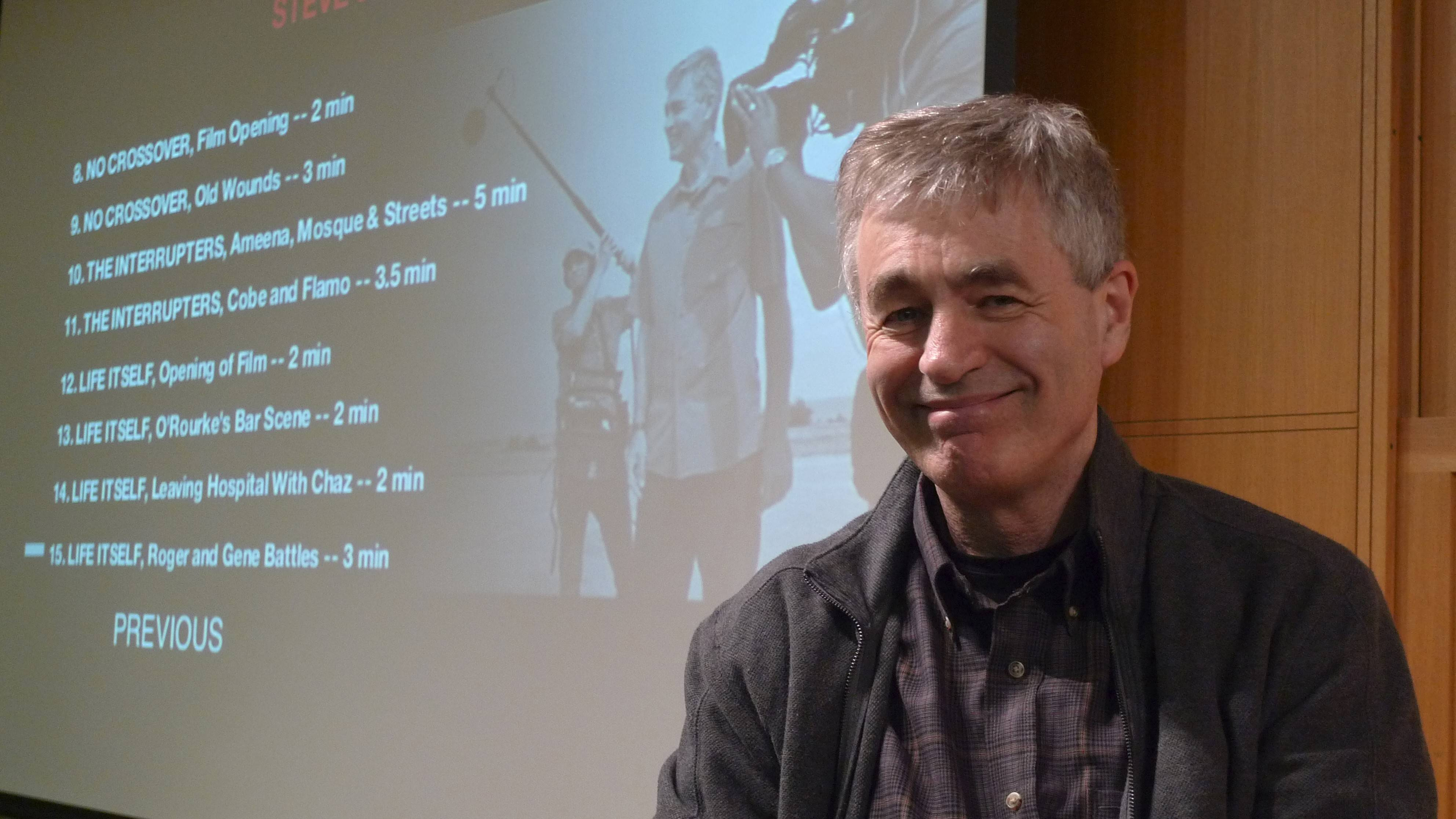"Steve James discusses his new Roger Ebert documentary ""Life Itself"" at the Arlington Heights Memorial Library during a special Feb. 18 presentation."