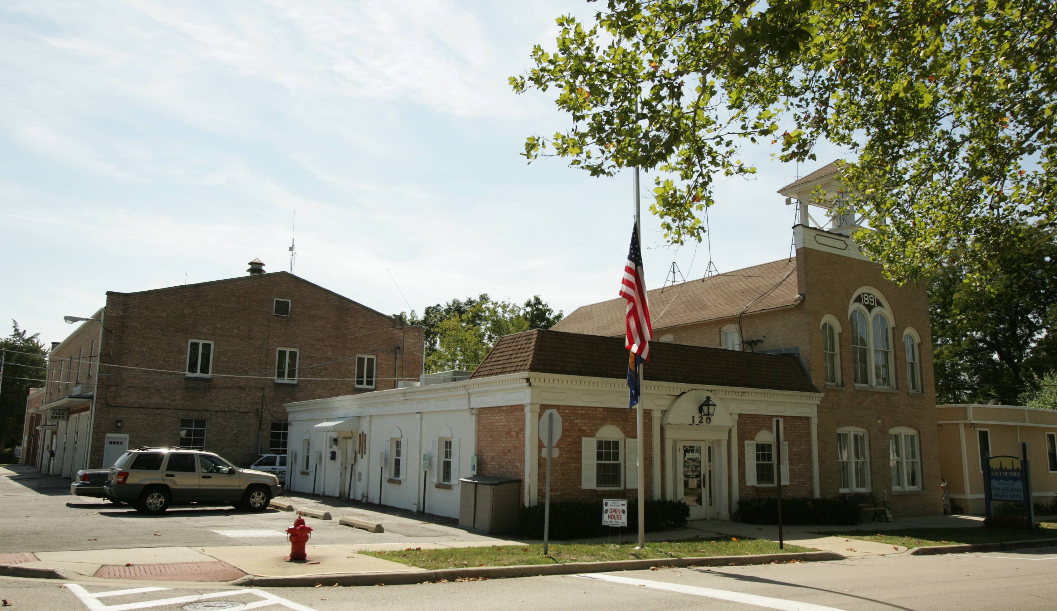 East Dundee's village hall, police and fire departments were previously located all in the same square block in downtown East Dundee. With the fire department moving to a new station, its former space will be part of a renovation of the municipal campus.