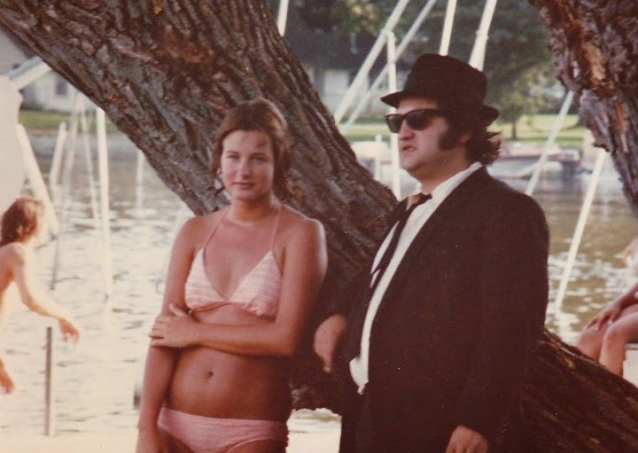 "Debbie Jachec, left, got a picture with actor John Belushi on the set of ""The Blues Brothers"" in Wauconda in 1979. She was 19, and her family owned Sunny Hill Beach, on which a scene for the movie was filmed."
