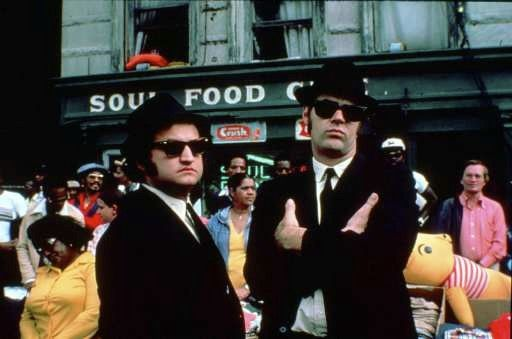 "Actors John Belushi, left, and Dan Aykroyd on the set of ""The Blues Brothers"" in Chicago."