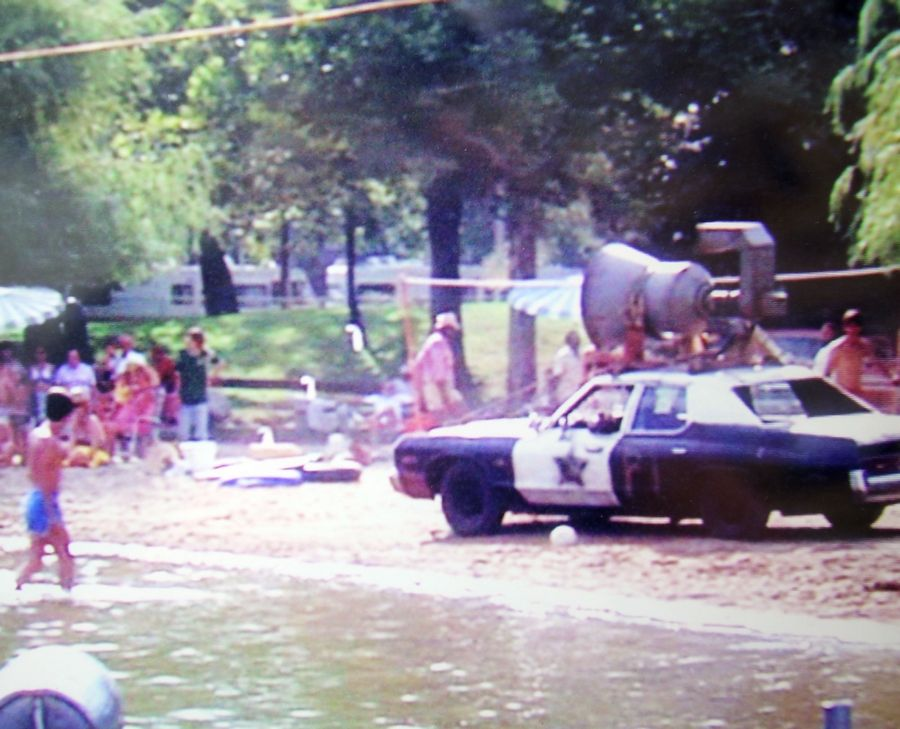 "The Bluesmobile makes its way down Phil's Beach in Wauconda during the filming of ""The Blues Brothers"" 35 years ago."