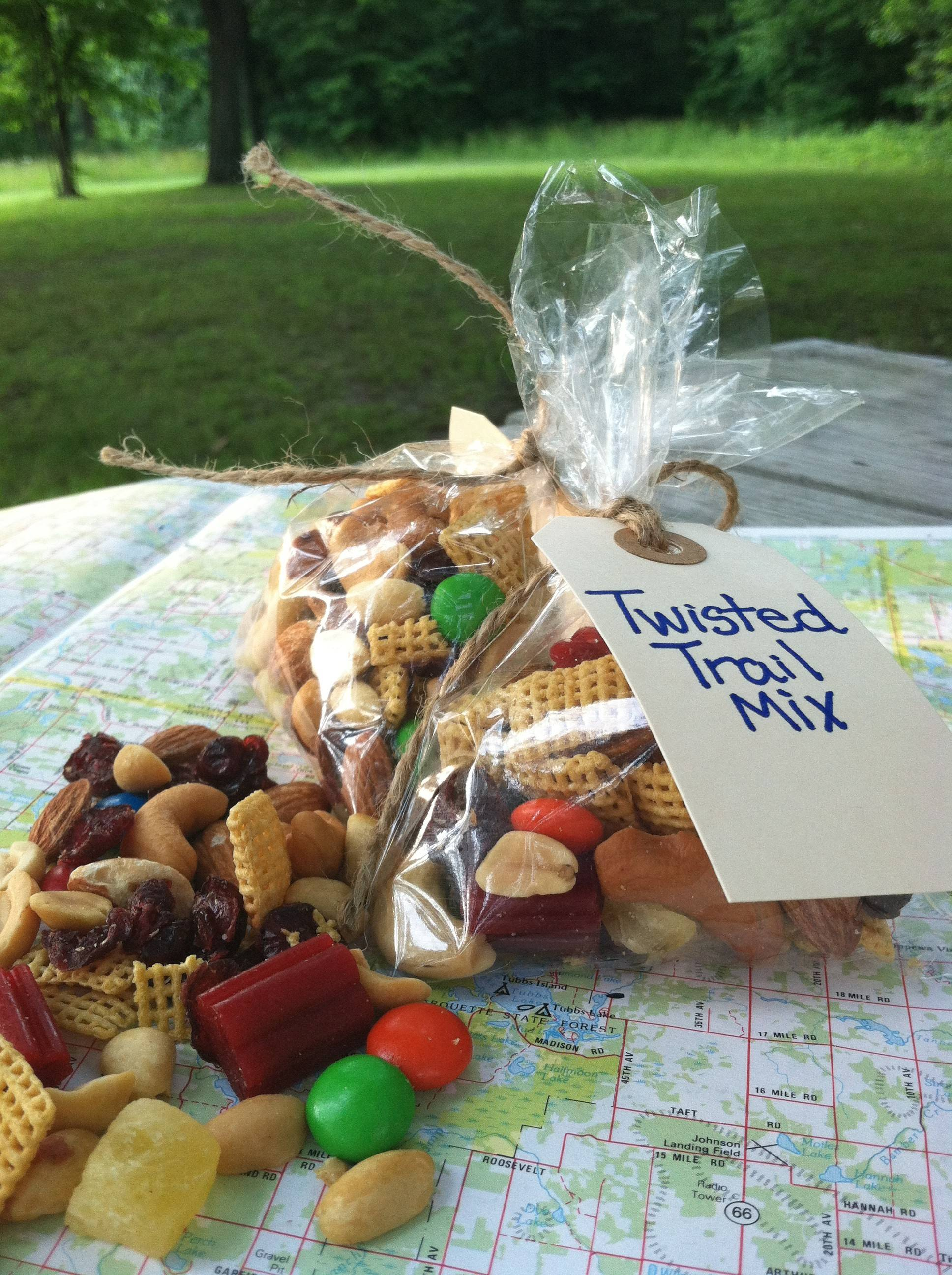 Twizzlers add an unexpected twist to nutty trail mix.