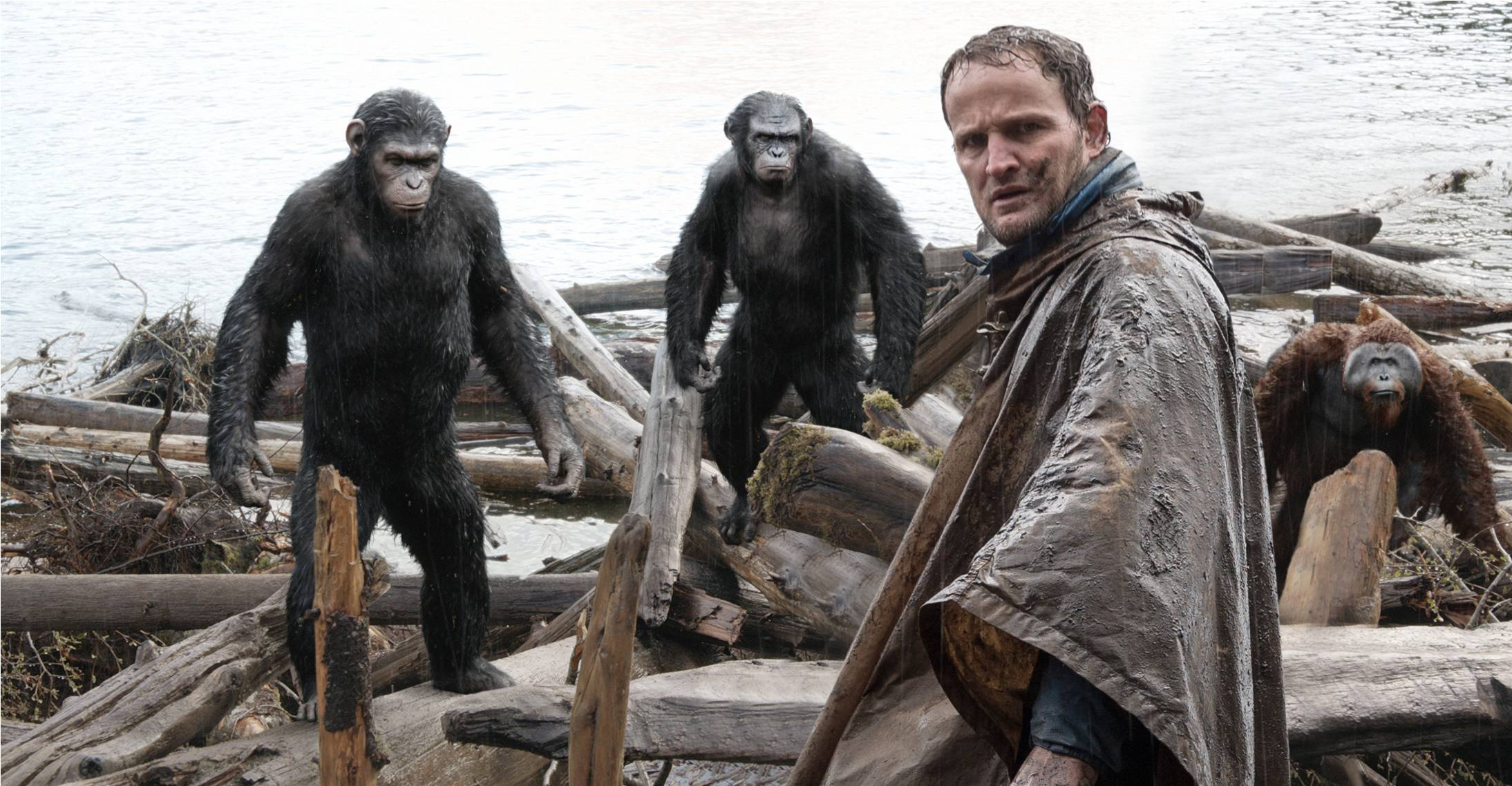 "Malcolm (Jason Clarke) tries to broker a peace between humans and apes in a post-apocalyptic San Francisco in ""Dawn of the Planet of the Apes."""