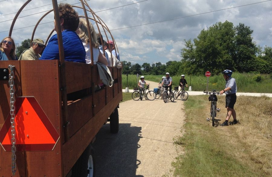 A tour Thursday heads down the new 3.3-mile section of the Casey Trail and Greenway near Libertyville.