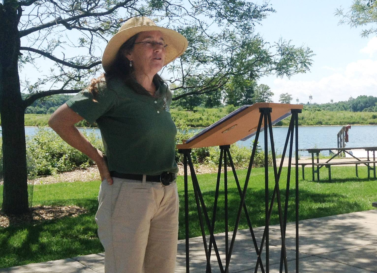 Lake County Forest Preserve District Board President Ann Maine discusses the partnerships that made a connection to the Des Plaines River Trail possible.