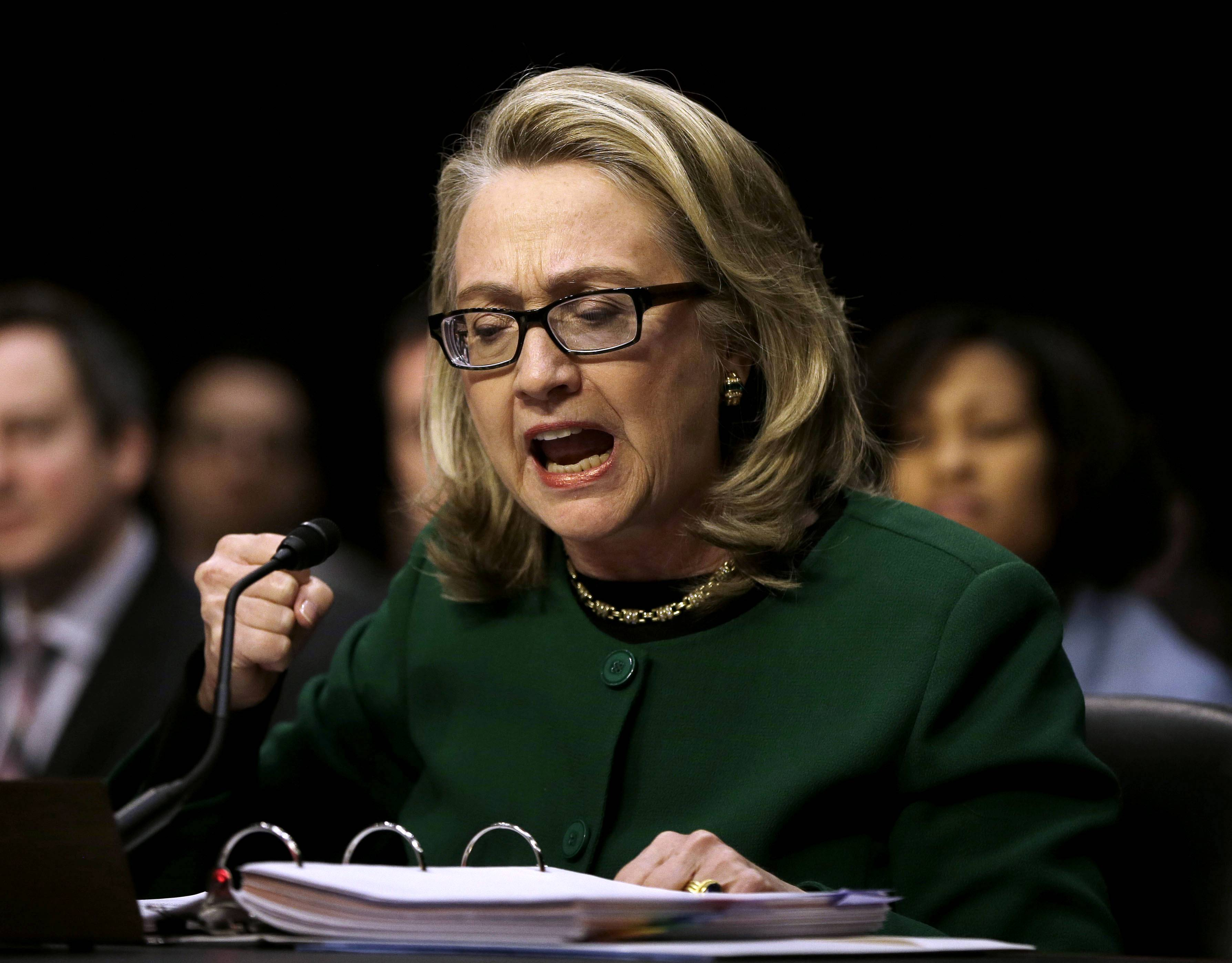 U.S. Secretary of State Hillary Rodham testifies at the Senate Foreign Relations Committee hearing on the deadly attack on the U.S. diplomatic mission in Benghazi, Libya.