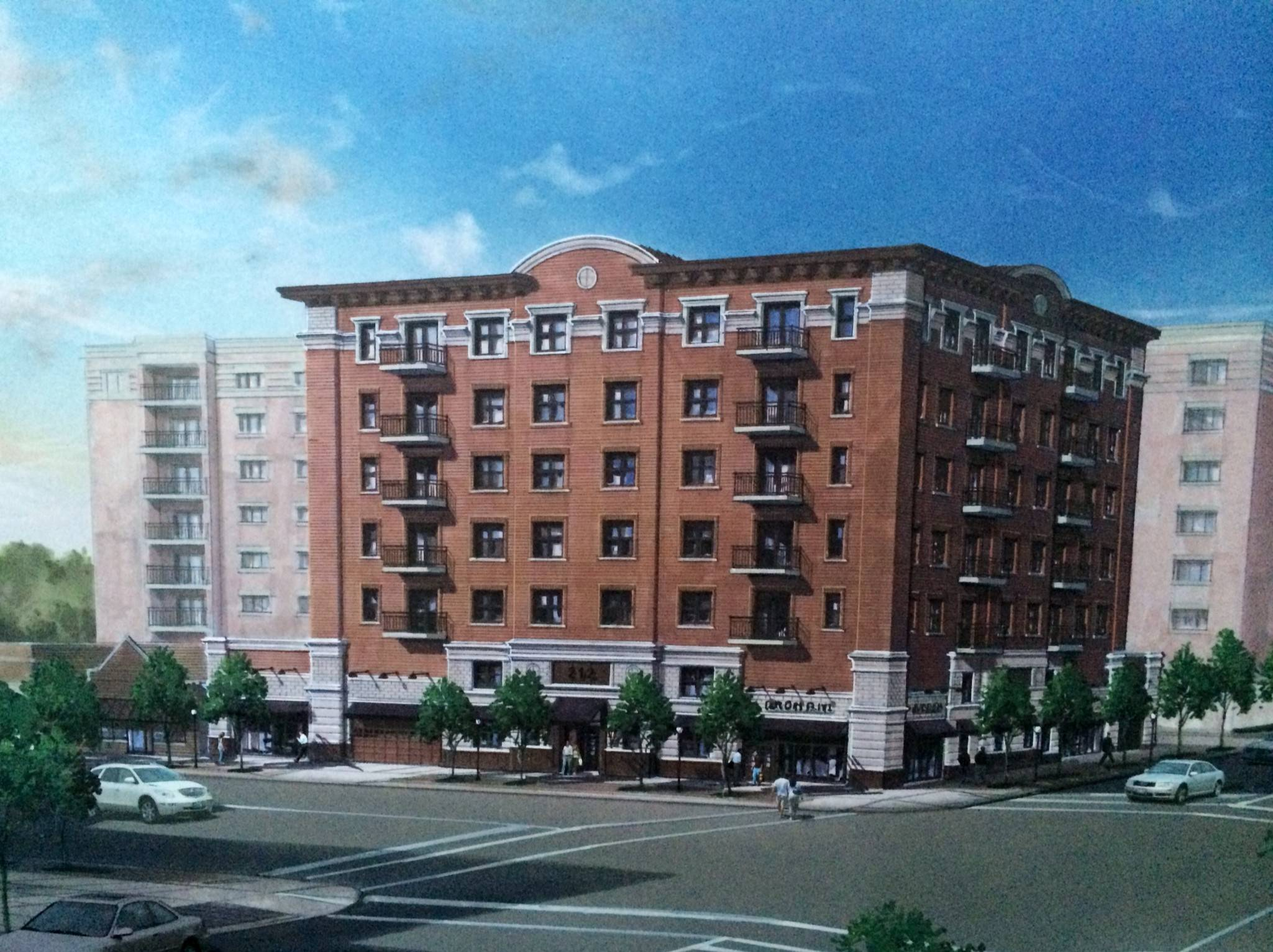 This rendering shows the proposed Parkview Apartment tower in downtown Arlington Heights.