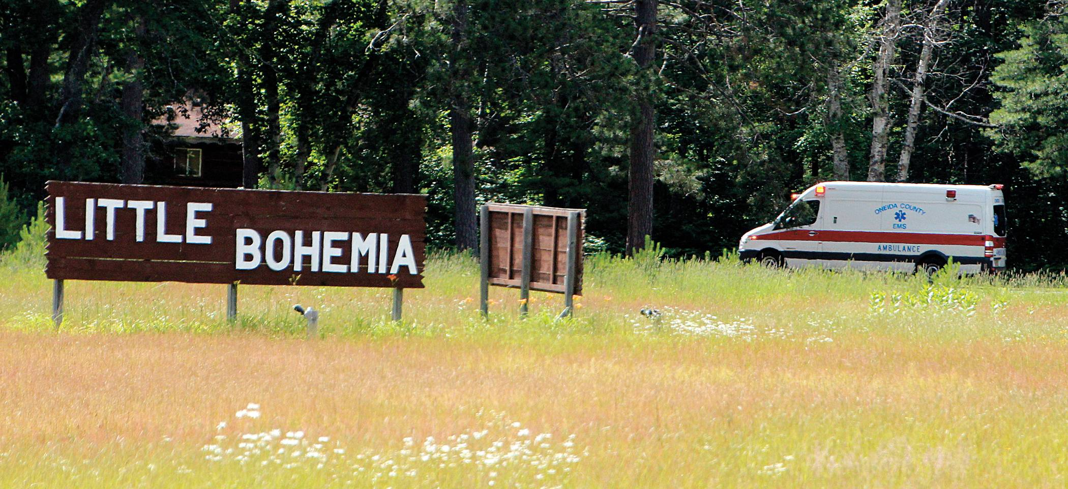An ambulance enters the property of the Little Bohemia Lodge near Manitowish Waters, Wisconsin in response to a boating accident Thursday afternoon that left a 12-year-old Arlington Heights girl and her 11-year-old brother hospitalized with injuries. The crash remains under investigation.