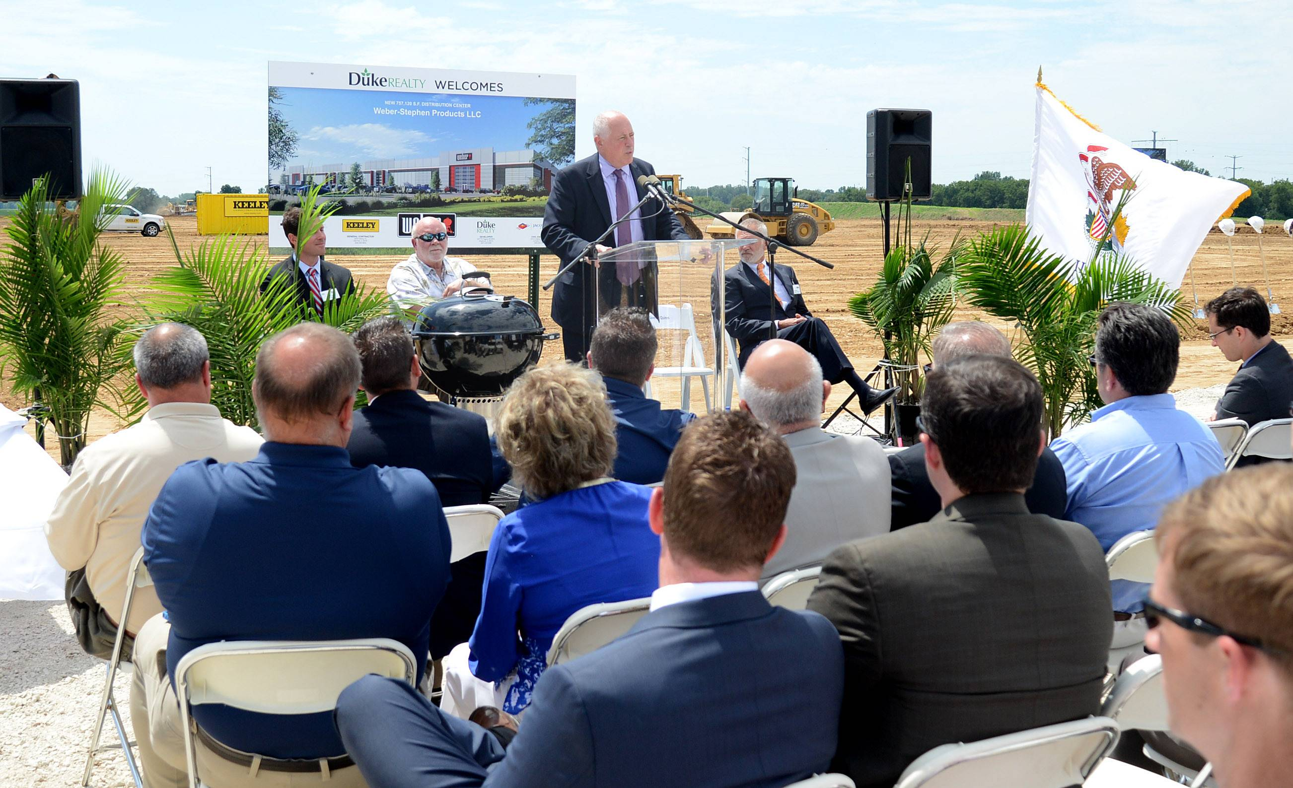 Gov. Pat Quinn speaks the audience at the Weber-Stephen Products ceremonial groundbreaking of their new global distribution center on Freeman Road in Huntley on Friday.