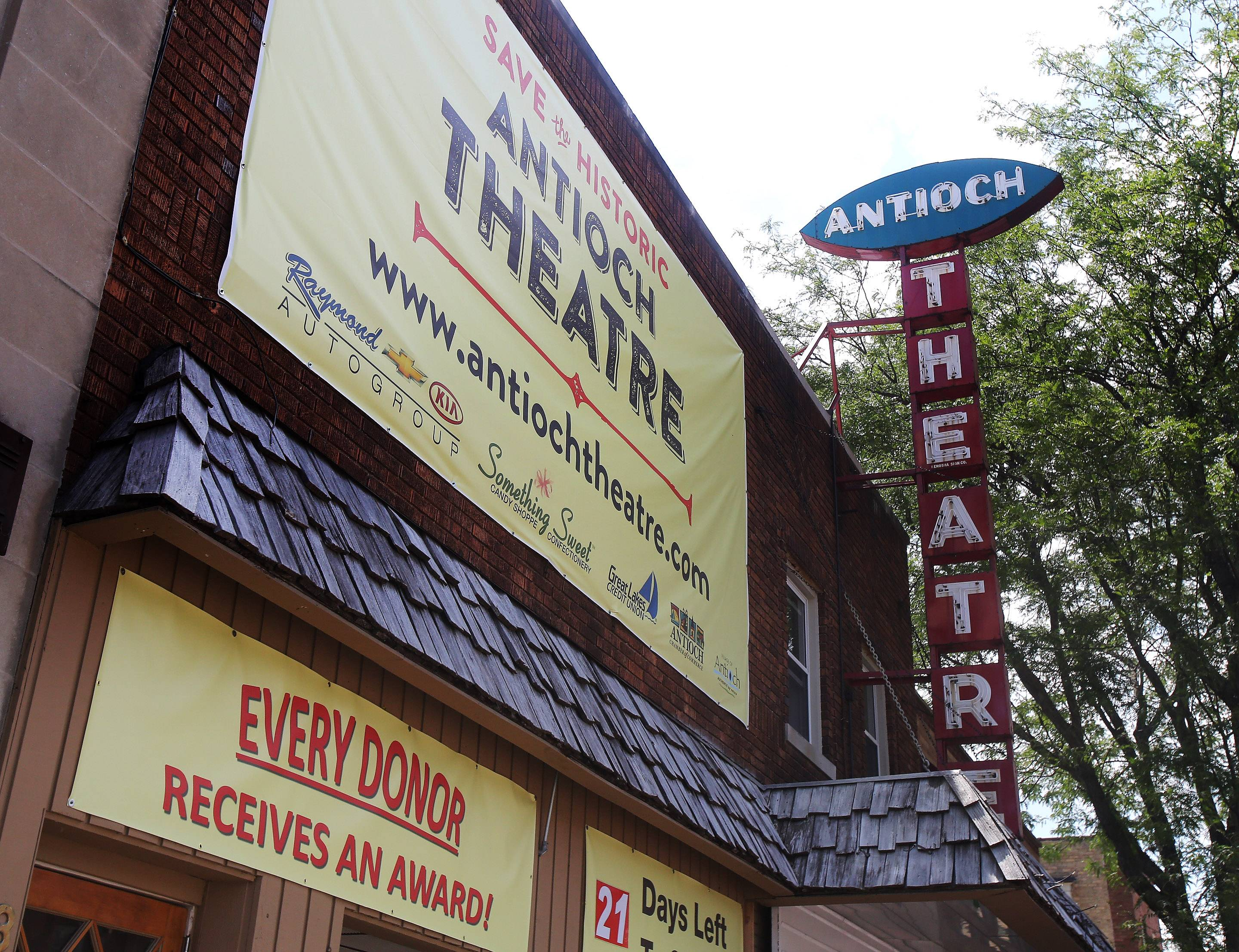 New Antioch Theater owner Tim Downey says he needs to raise $42,000 for digital film equipment and building renovations by July 31 or he won't be able to reopen the theater that dates to 1919.