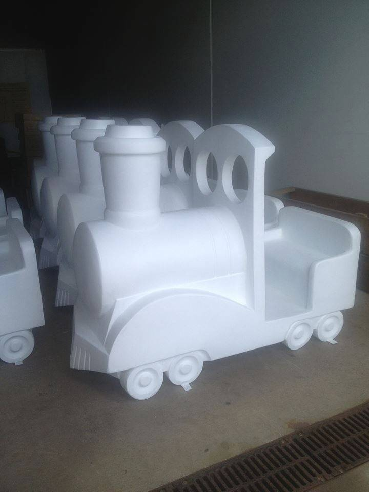 Blank train sculptures arrive from Chicago to be painted for the Downtown Naperville Alliance's third annual holiday public art exhibition. Each train will be sponsored by a local business and painted by an area artist to be displayed from November to January in downtown.