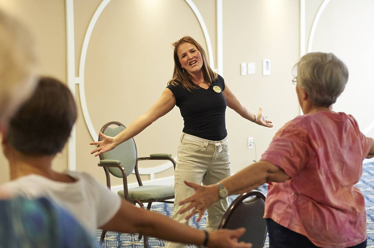 "The fitness team at GreenFields of Geneva offers an exercise dance class with a different theme every six weeks or so. They started with moves based on the movie ""Singing in the Rain."""
